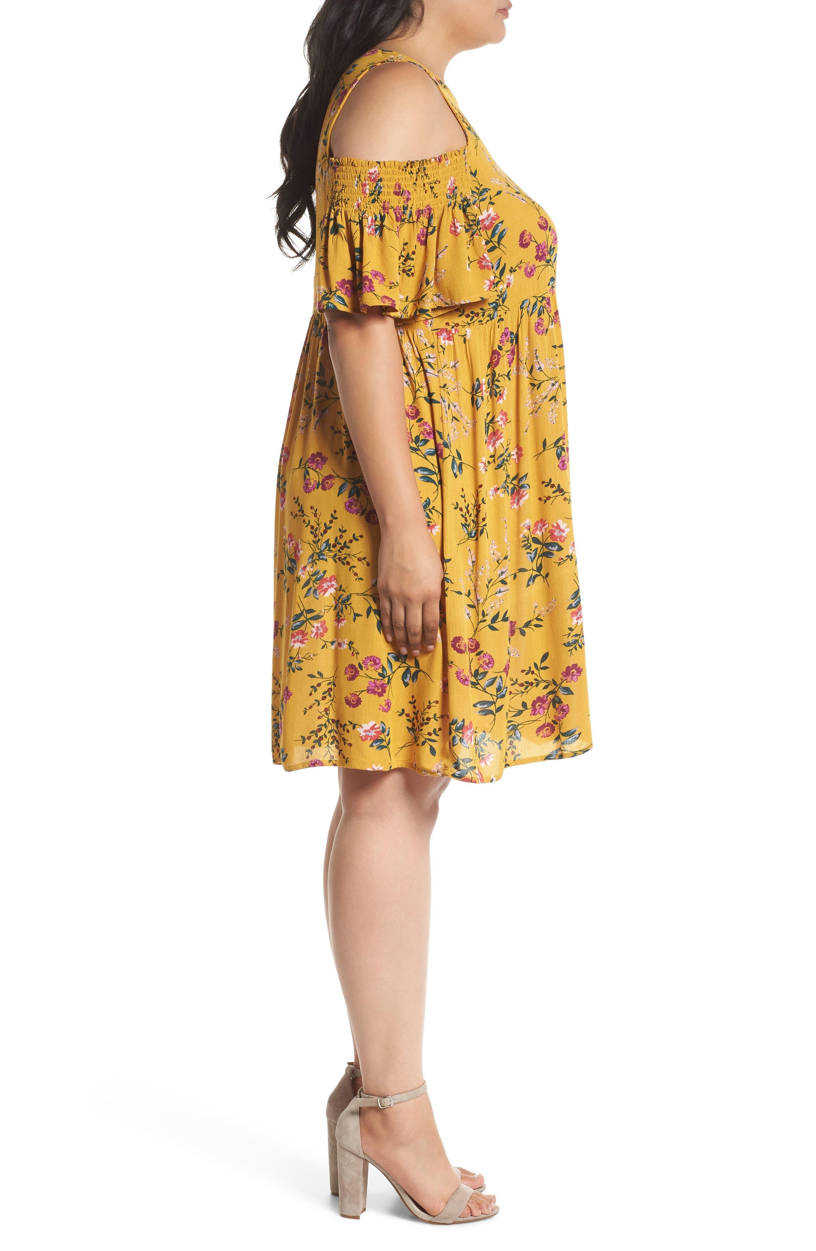 Floral Smocked Cold Shoulder Dress,                             Alternate thumbnail 3, color,                             Mustard Multi Floral