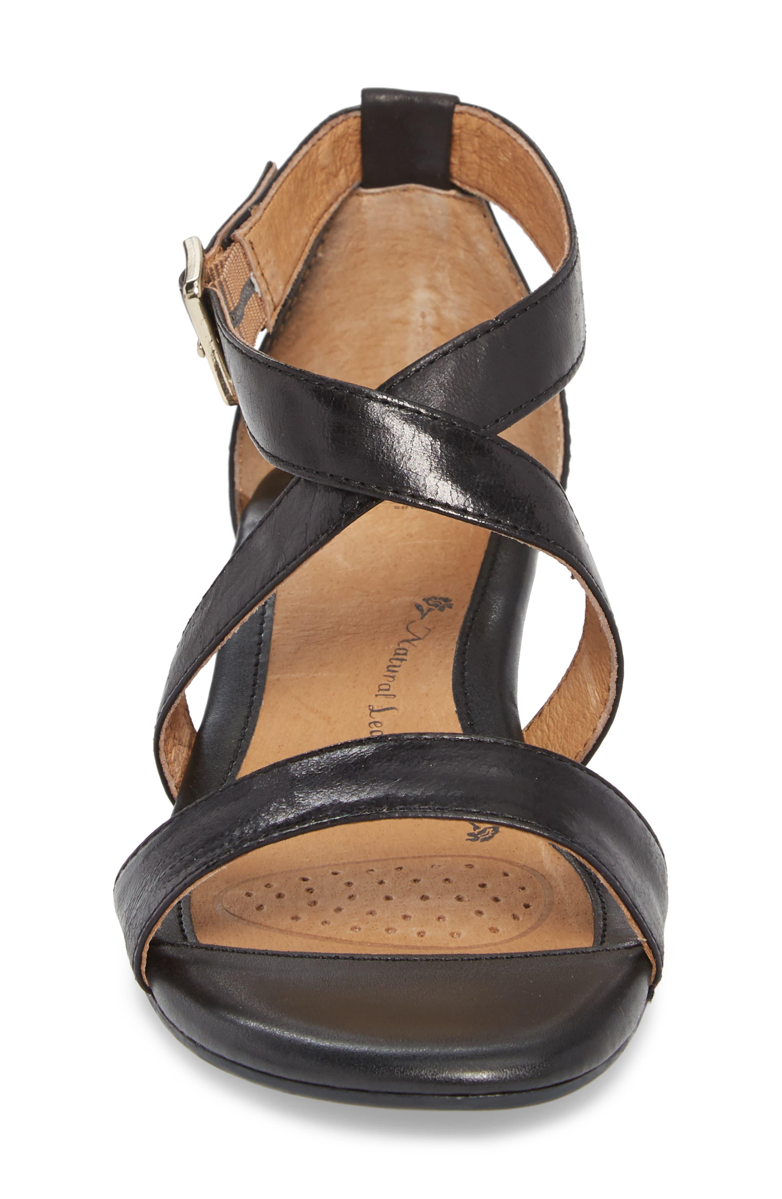 'Innis' Low Wedge Sandal,                             Alternate thumbnail 4, color,                             Black Leather