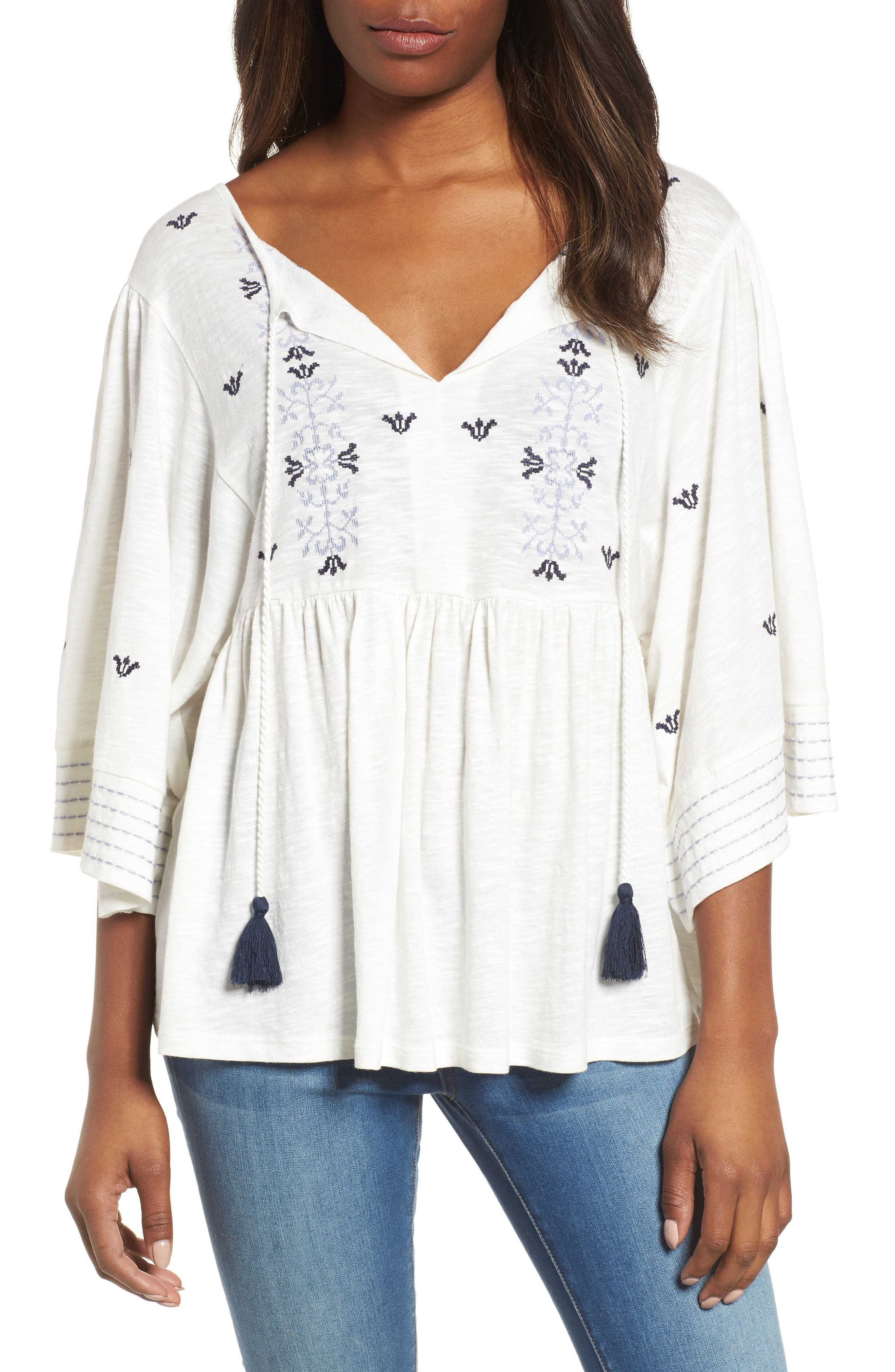 Caslon® Embroidered Peasant Top (Regular & Petite)