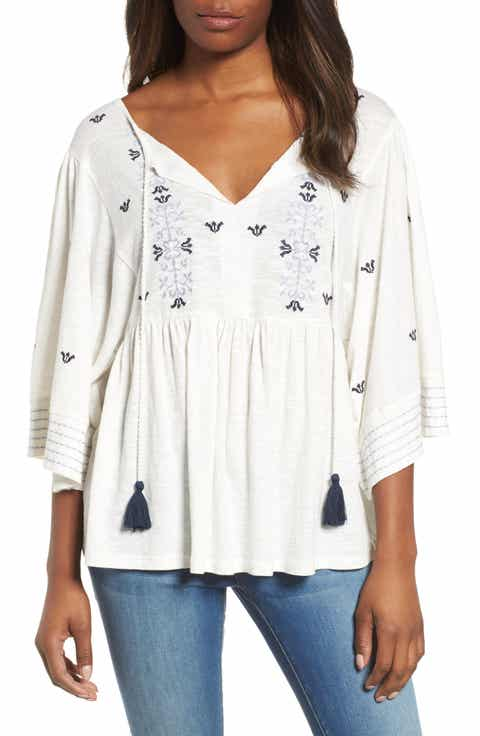 Caslon® Embroidered Peasant Top (Regular & Petite)