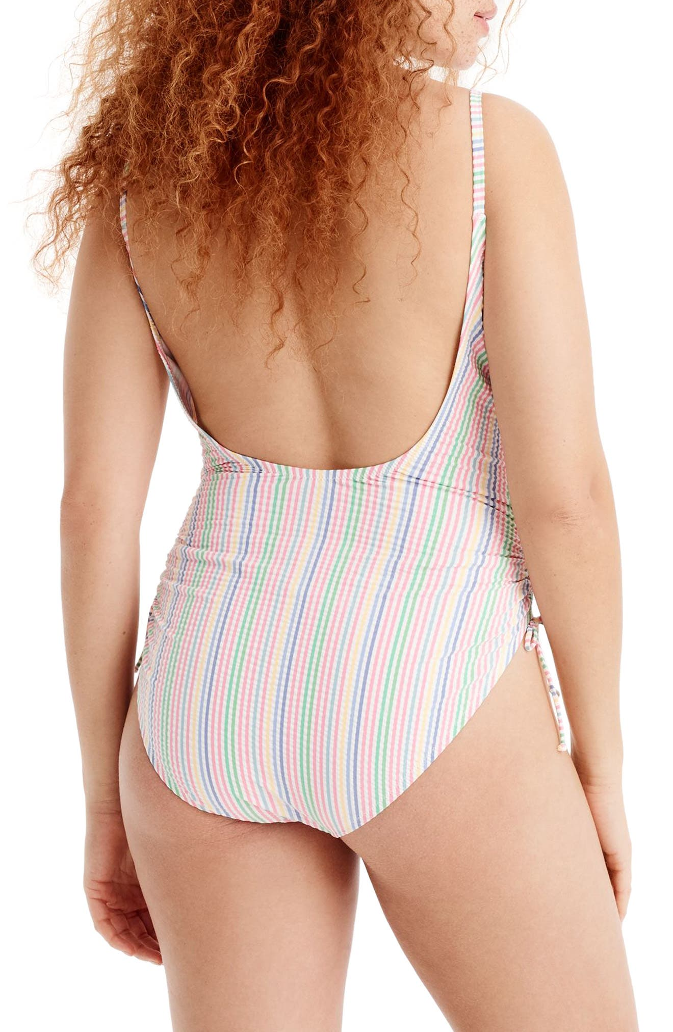 Ruched Seersucker One-Piece Swimsuit,                             Alternate thumbnail 2, color,                             Blue Multi