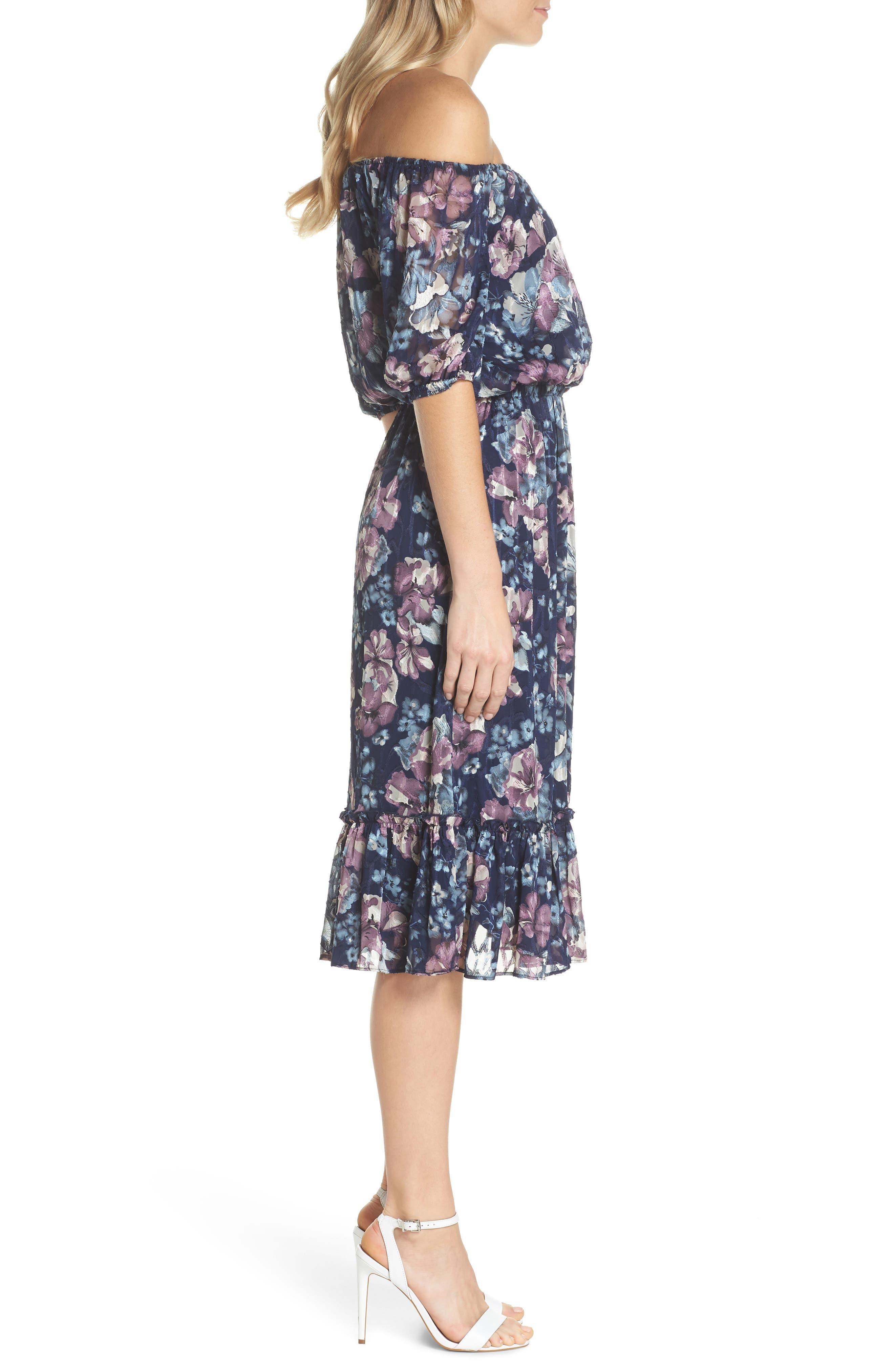Floral Burnout Off the Shoulder Blouson Dress,                             Alternate thumbnail 3, color,                             Navy Multi