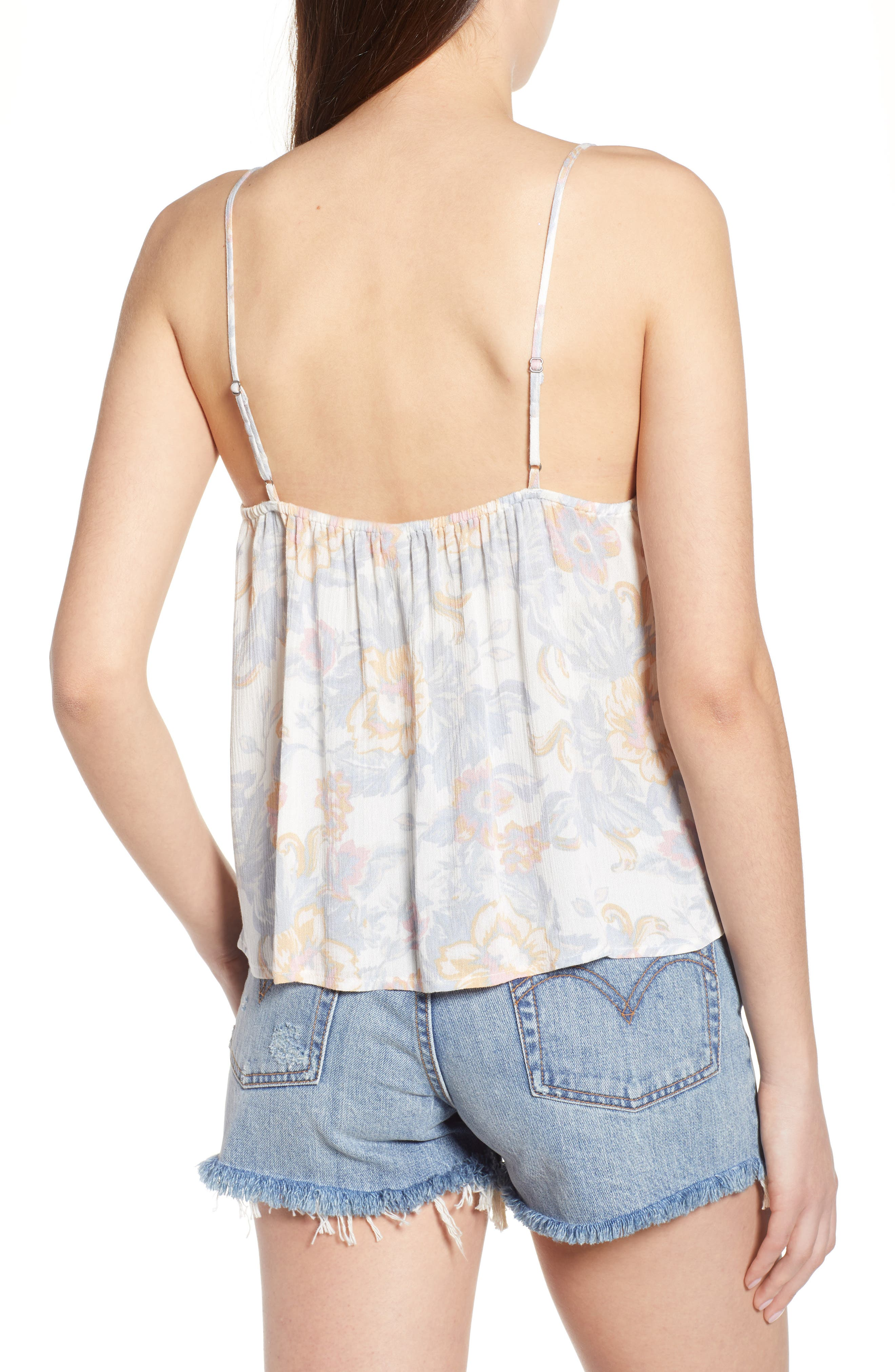 Print Babydoll Camisole,                             Alternate thumbnail 2, color,                             Ivory Egret Tapestry Floral