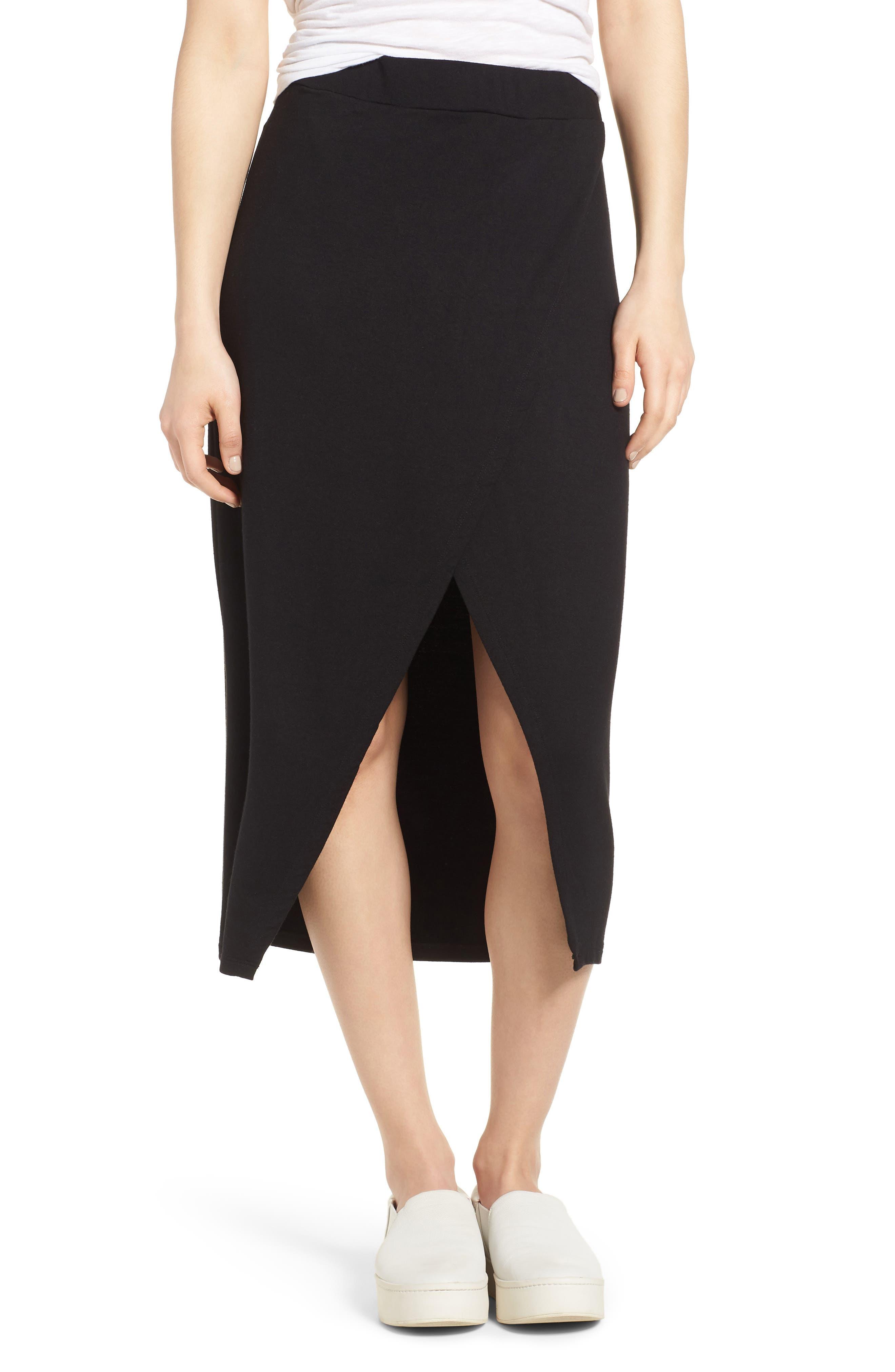 Faux Wrap Skirt,                         Main,                         color, Black