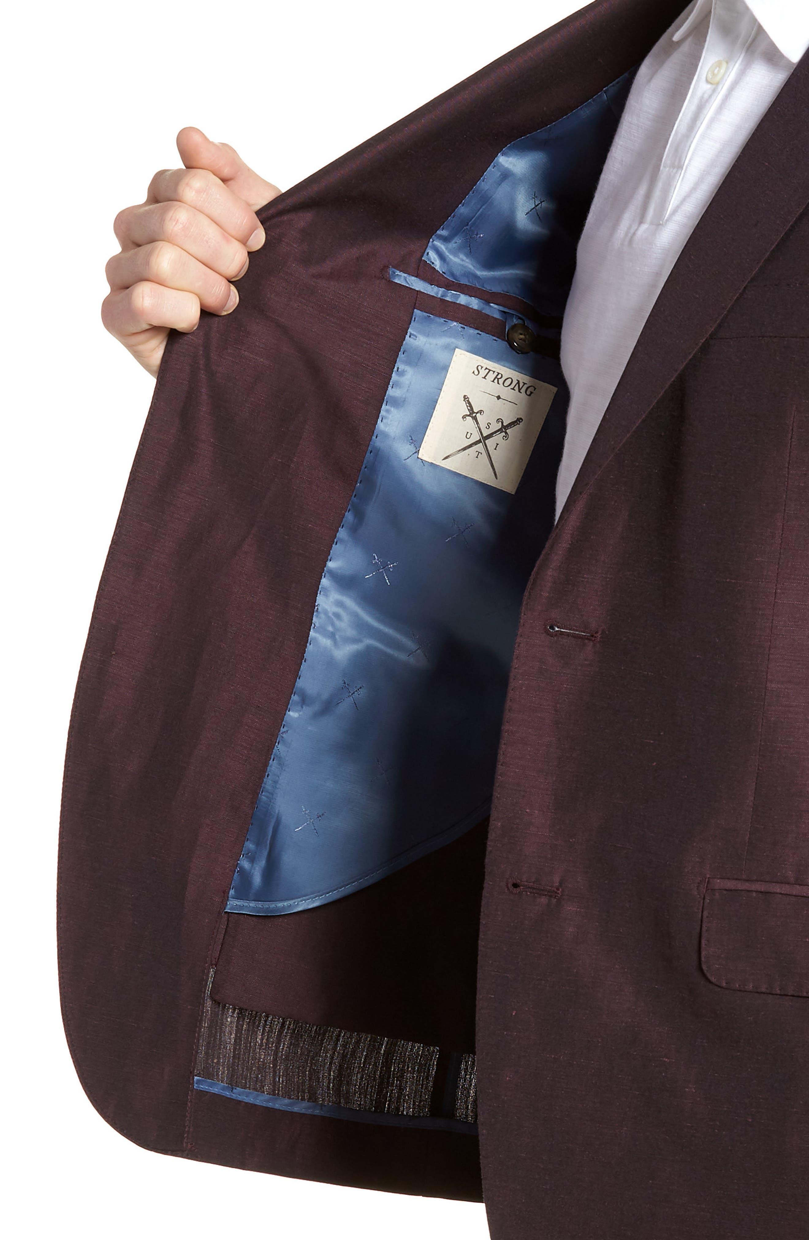 Shelby Trim Fit Wool & Linen Suit Jacket,                             Alternate thumbnail 4, color,                             Plum