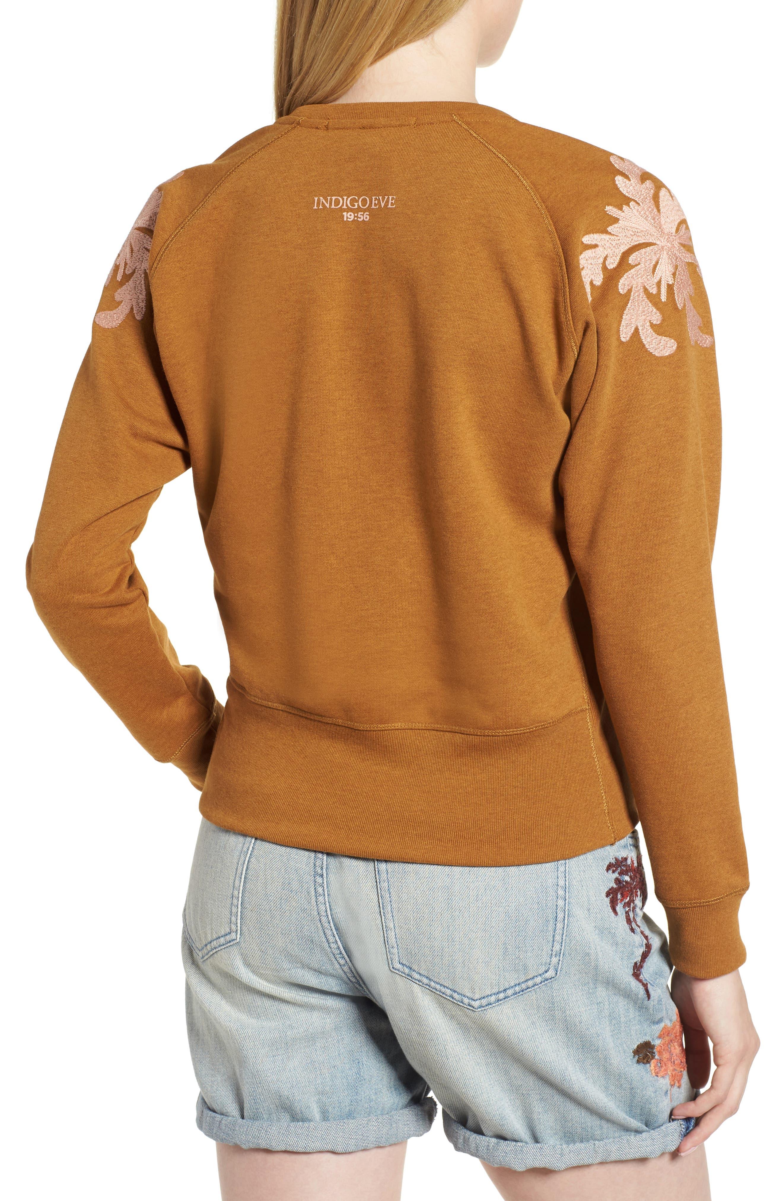 Embroidered V-Neck Sweater,                             Alternate thumbnail 2, color,                             Color 2009 Hazel