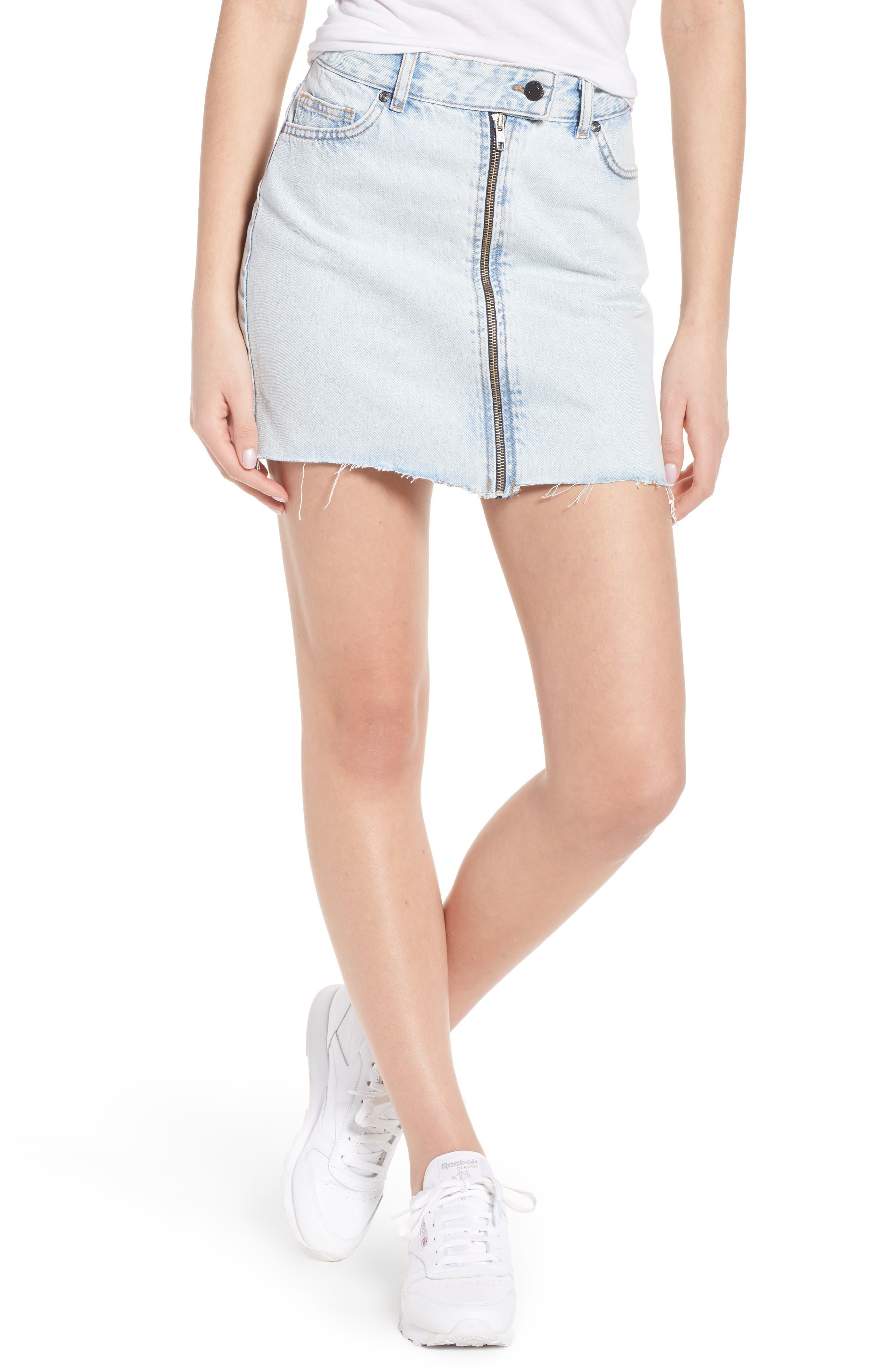 Dillon Denim Skirt,                         Main,                         color, Worn Superlight Blue