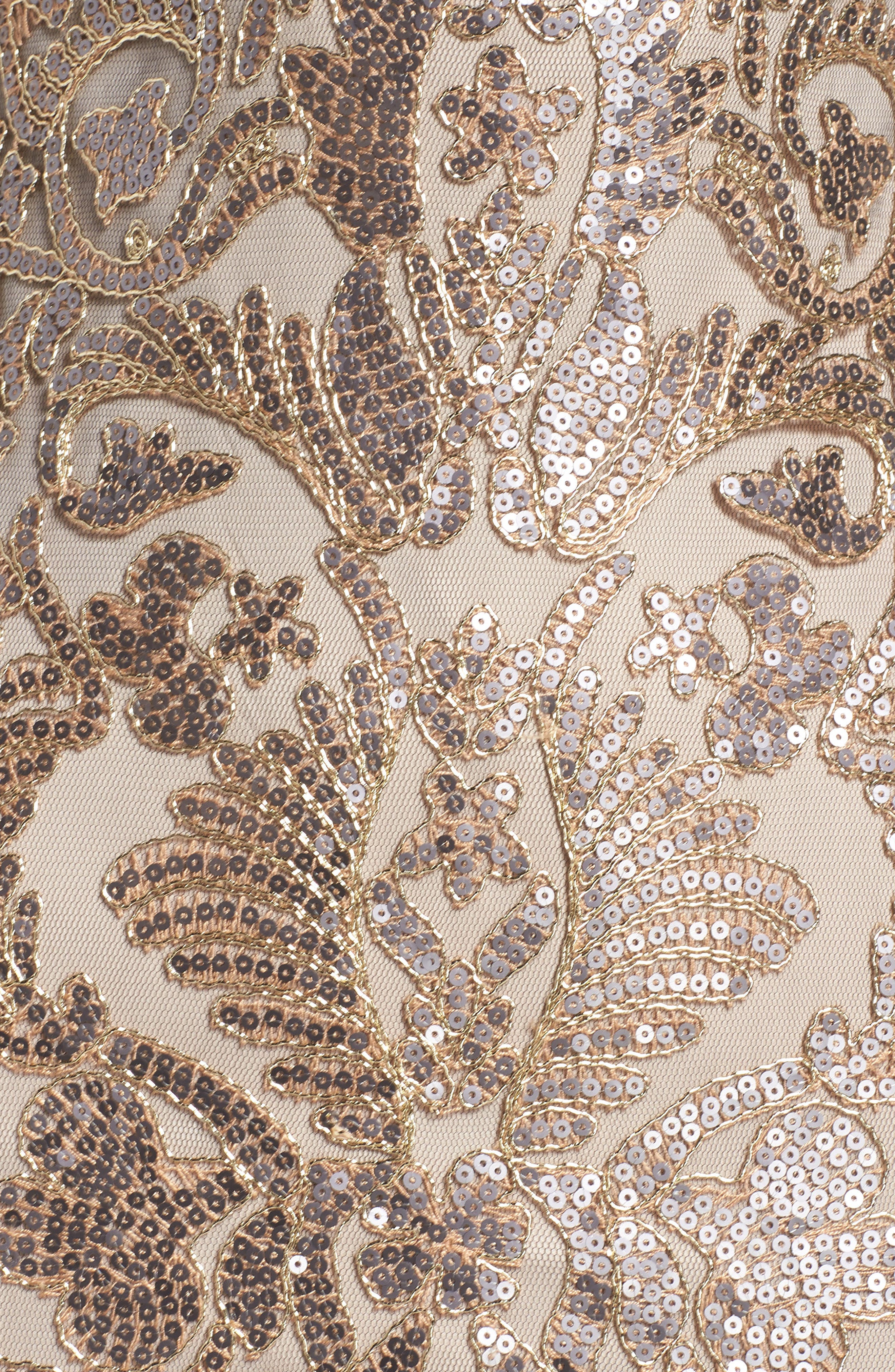 Embroidered Sequin A-Line Gown,                             Alternate thumbnail 5, color,                             Copper Shadow