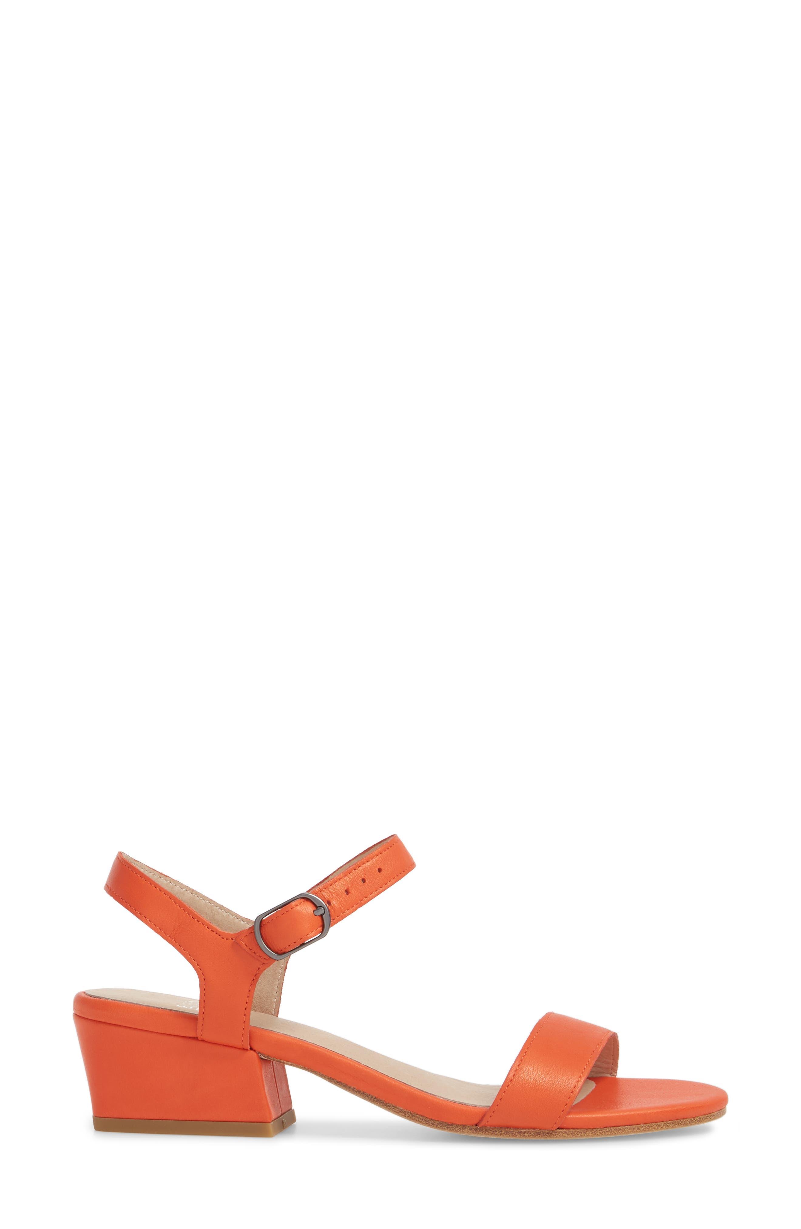 Olean Quarter Strap Sandal,                             Alternate thumbnail 3, color,                             Blood Orange Leather