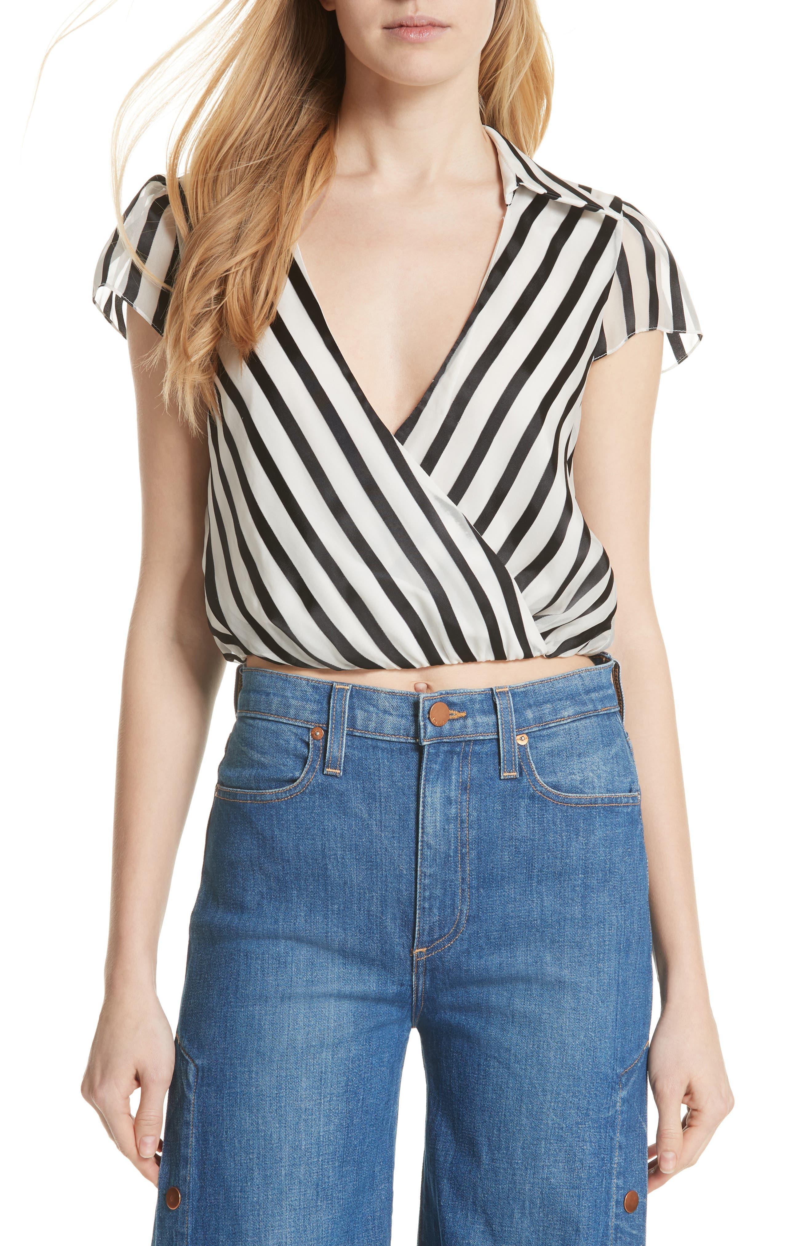 Dayer Drape Mock Wrap Silk Blend Blouse,                         Main,                         color, Monochrome Stripe