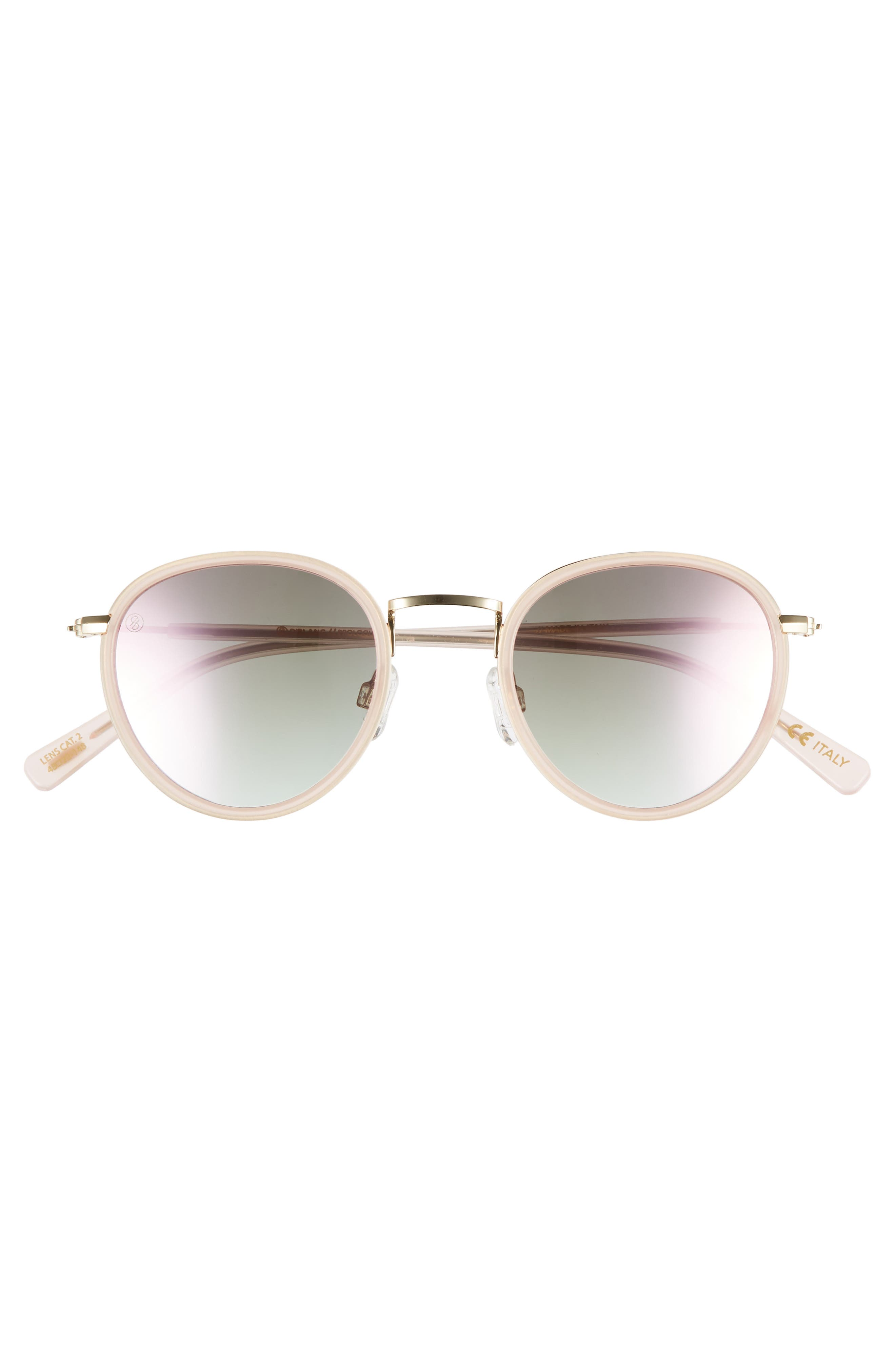 D'BLANC Prologue 48mm Round Sunglasses,                             Alternate thumbnail 3, color,                             Blush/ Rose Flash