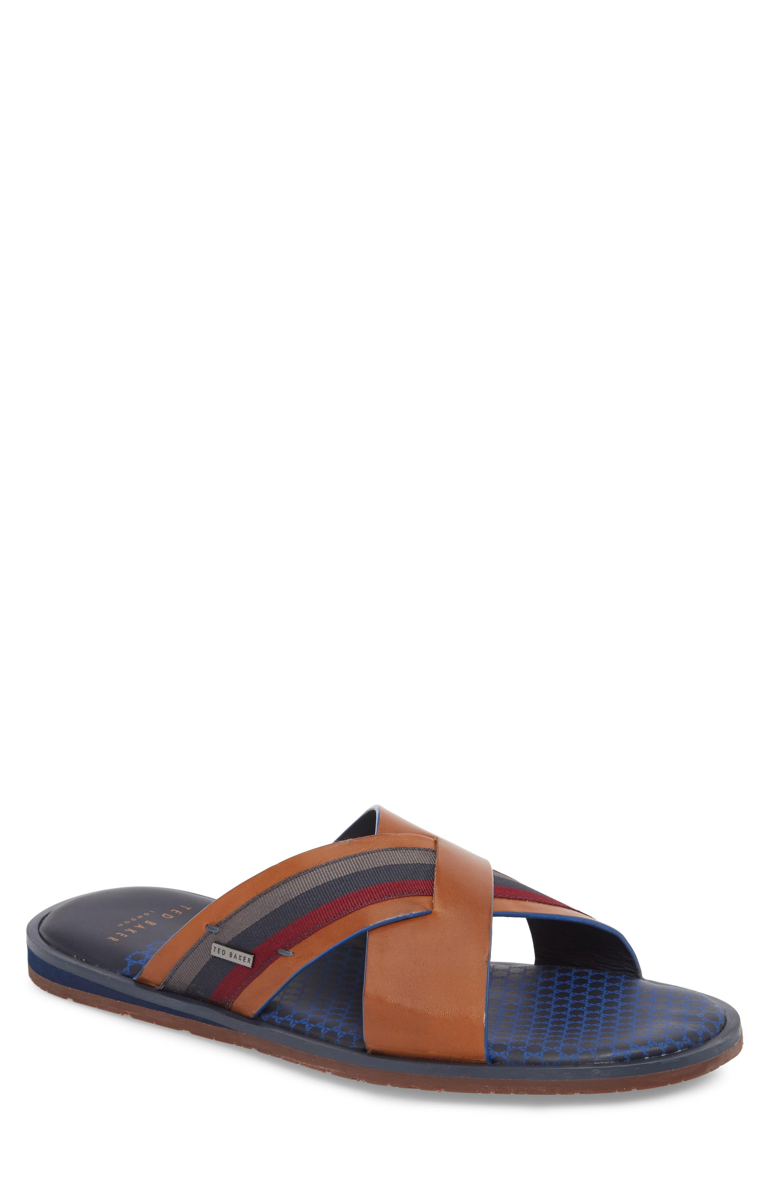 Farrull Cross Strap Slide Sandal,                             Main thumbnail 1, color,                             Tan Leather/ Textile