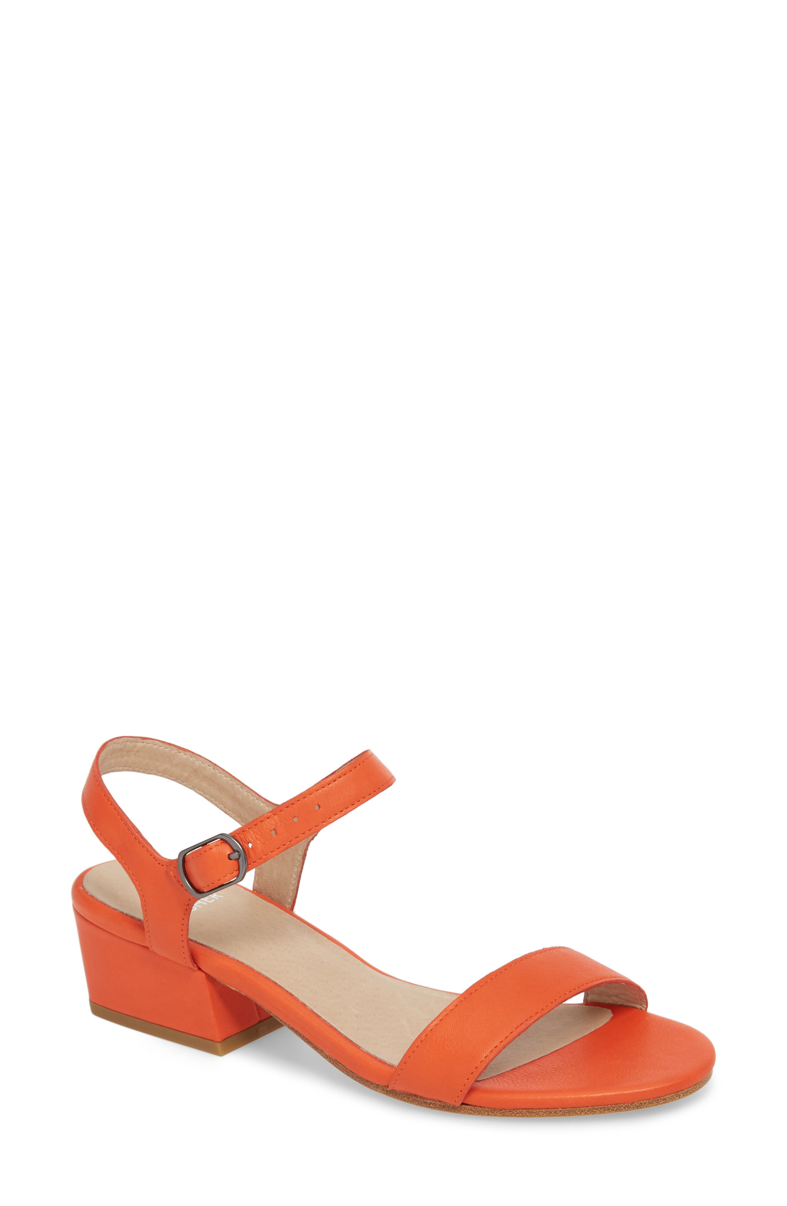 Olean Quarter Strap Sandal,                         Main,                         color, Blood Orange Leather