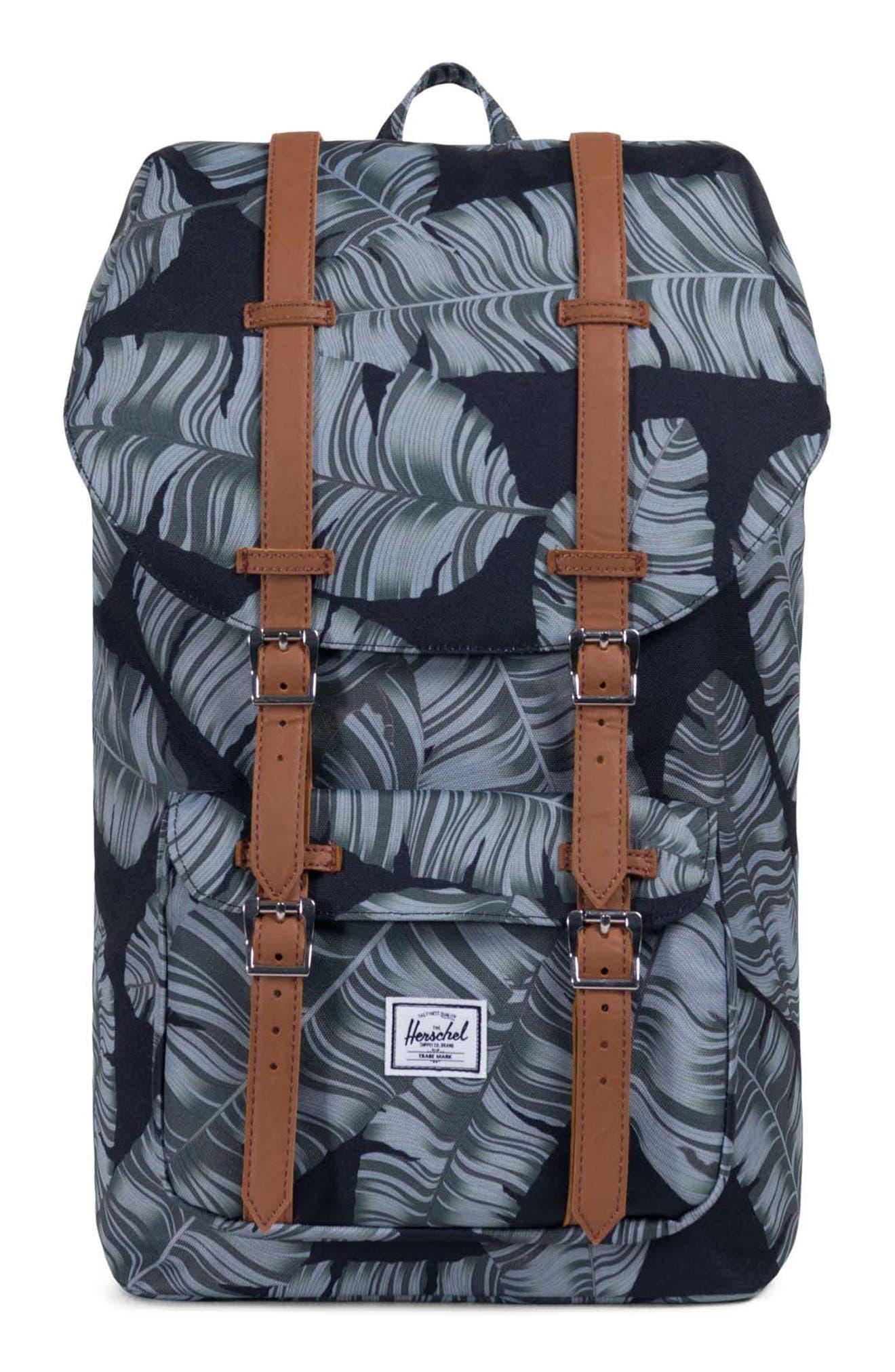 Little America Palm Print Backpack,                         Main,                         color, Black Palm
