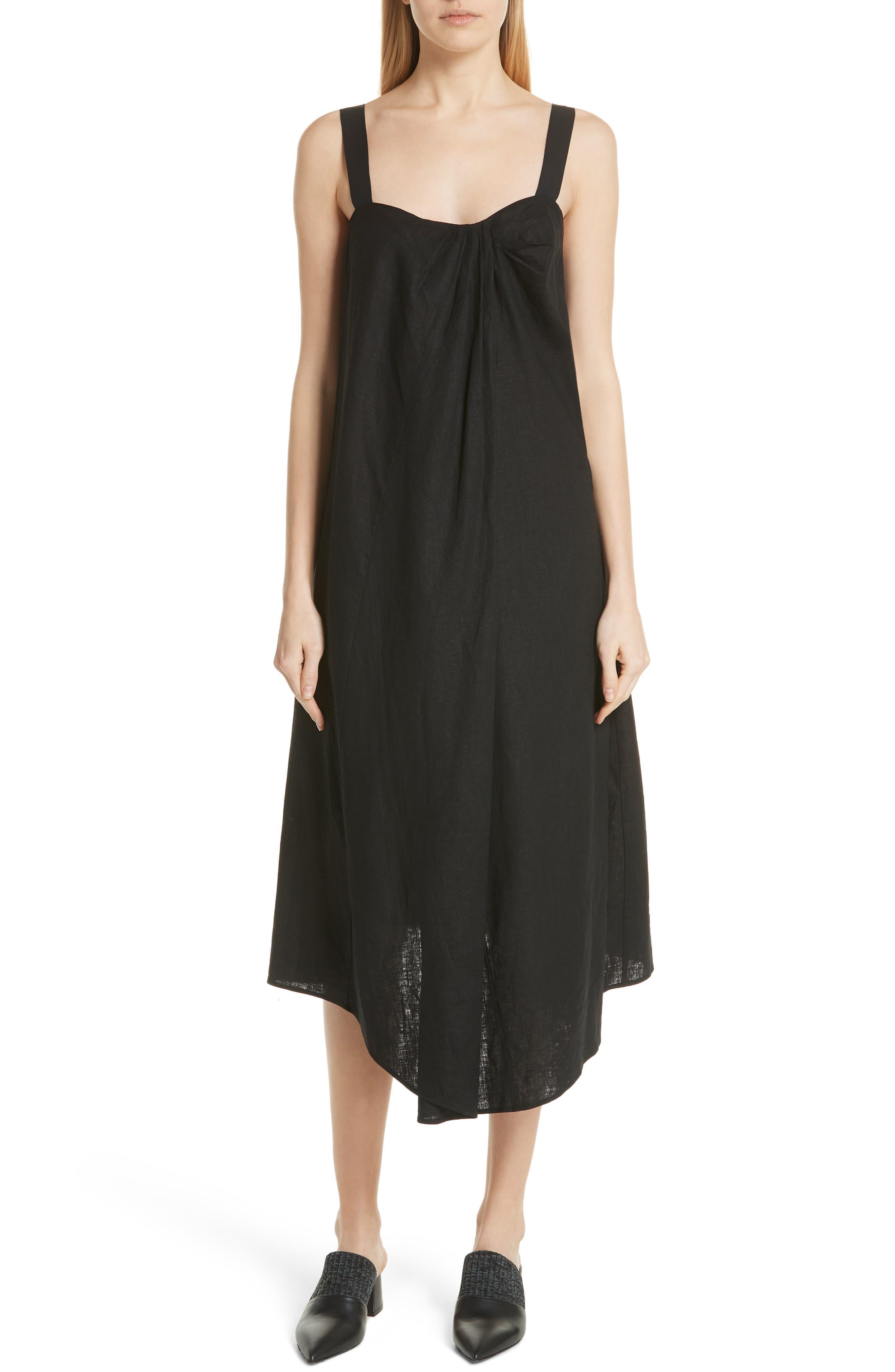 Drape Neck Asymmetrical Hem Dress,                             Main thumbnail 1, color,                             Black