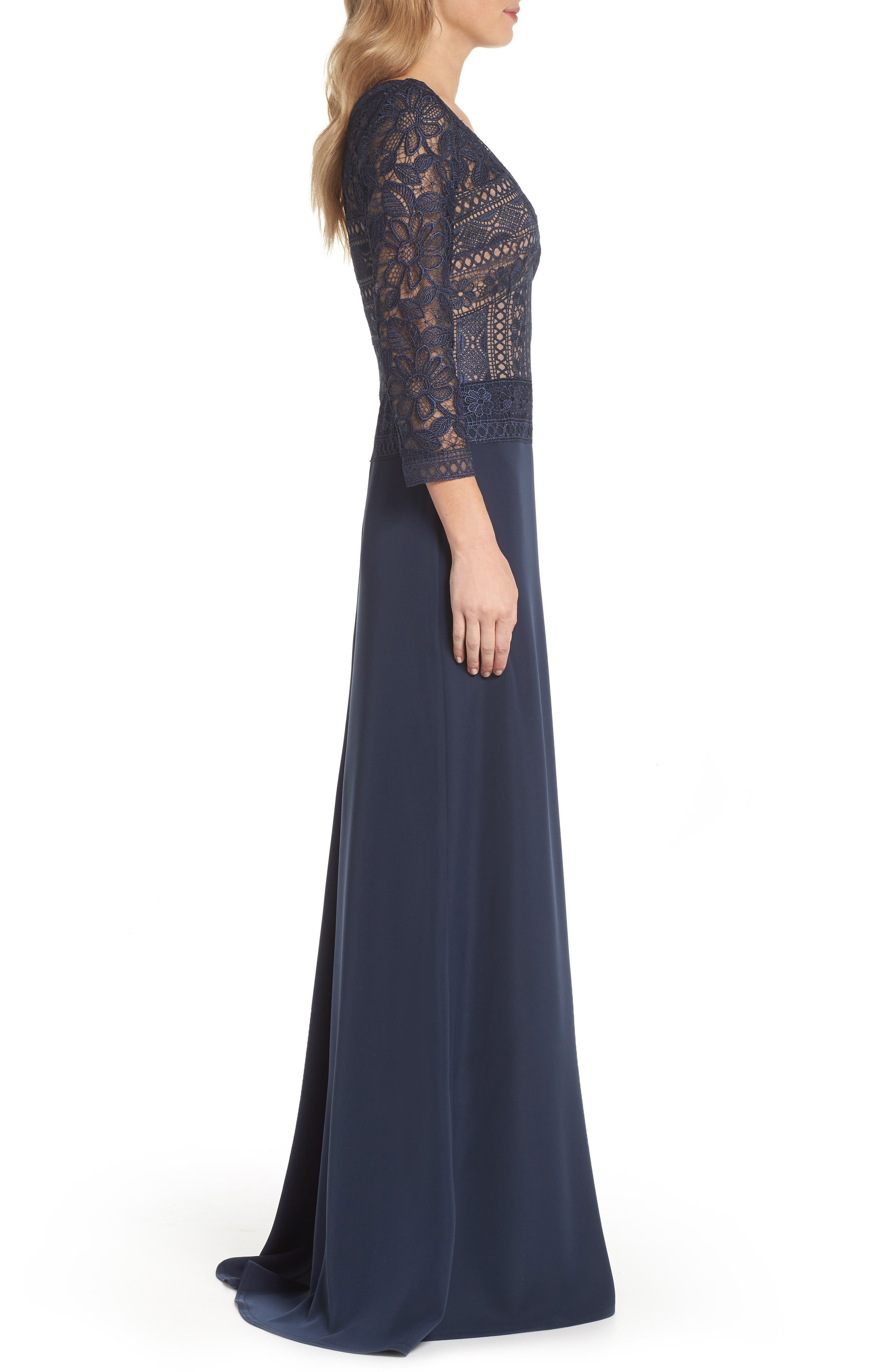Lace & Crepe A-Line Gown,                             Alternate thumbnail 3, color,                             Navy/ Nude