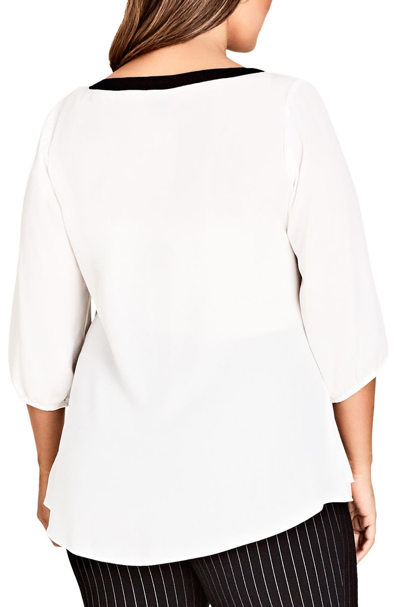 Zip Front Top,                             Alternate thumbnail 2, color,                             Ivory