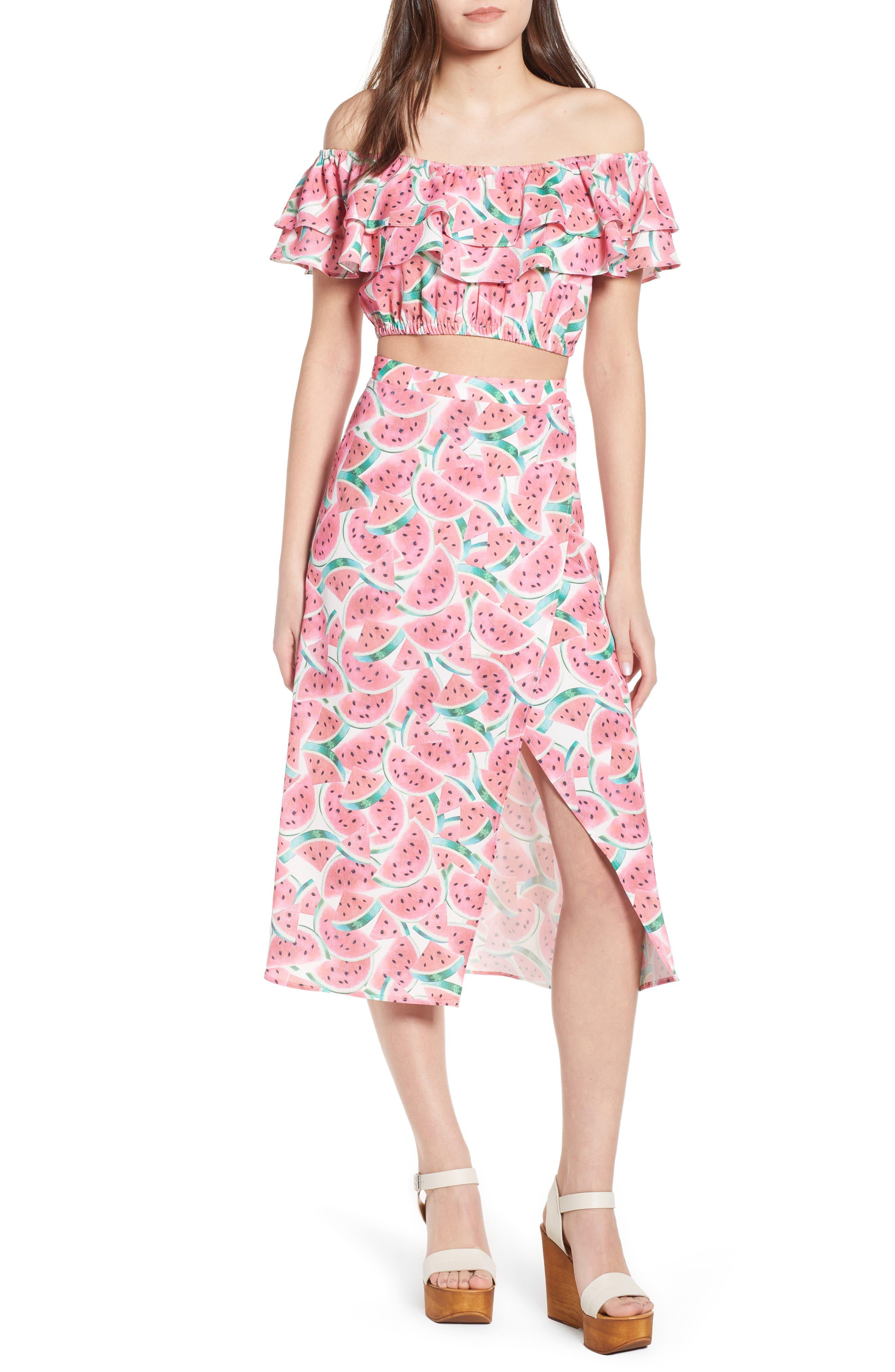 Flirt Midi Skirt,                             Alternate thumbnail 2, color,                             One In A Melon Crinkle Stretch