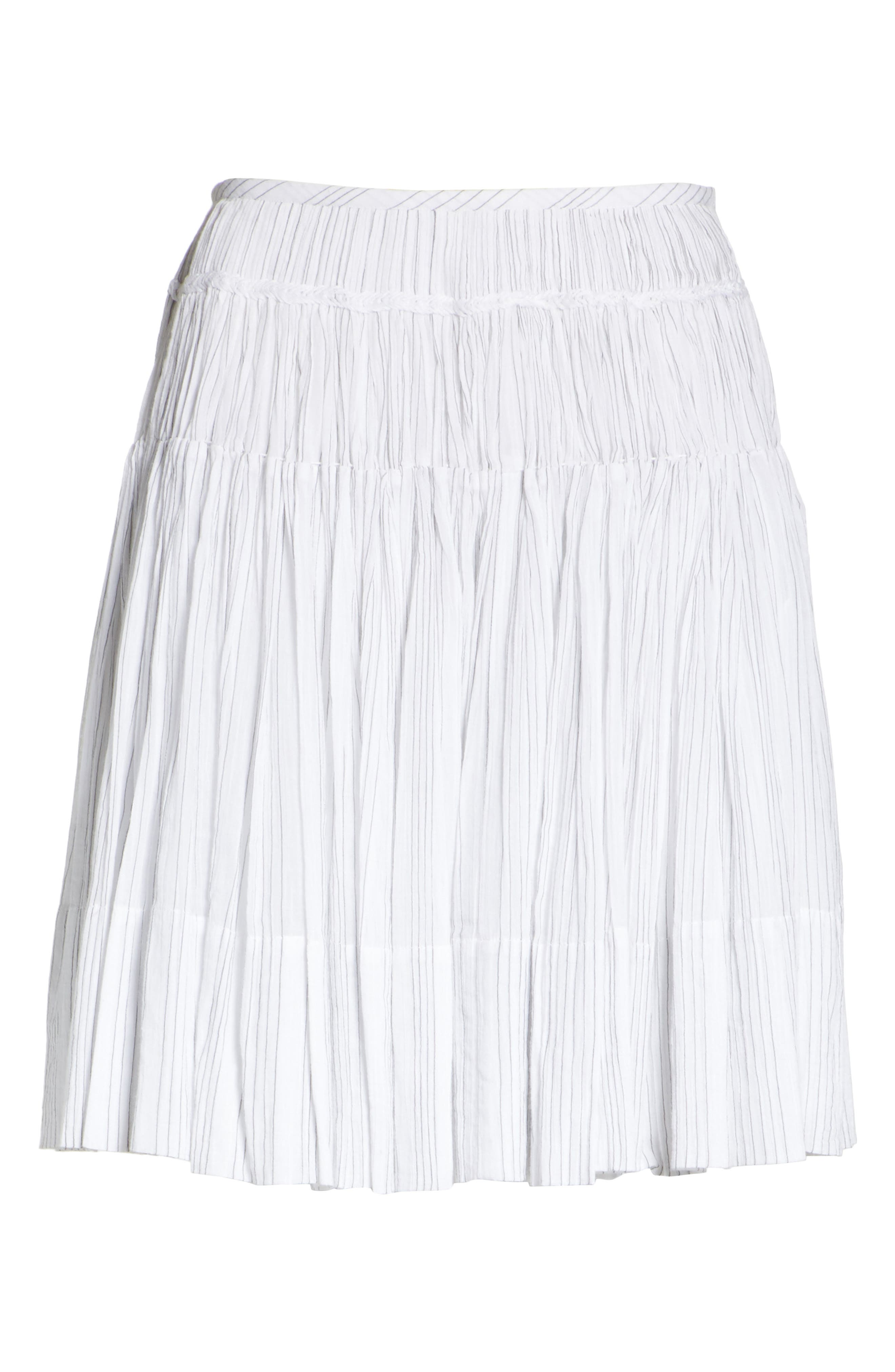 Variegated Stripe Pleat Skirt,                             Alternate thumbnail 6, color,                             Optic White/ Black