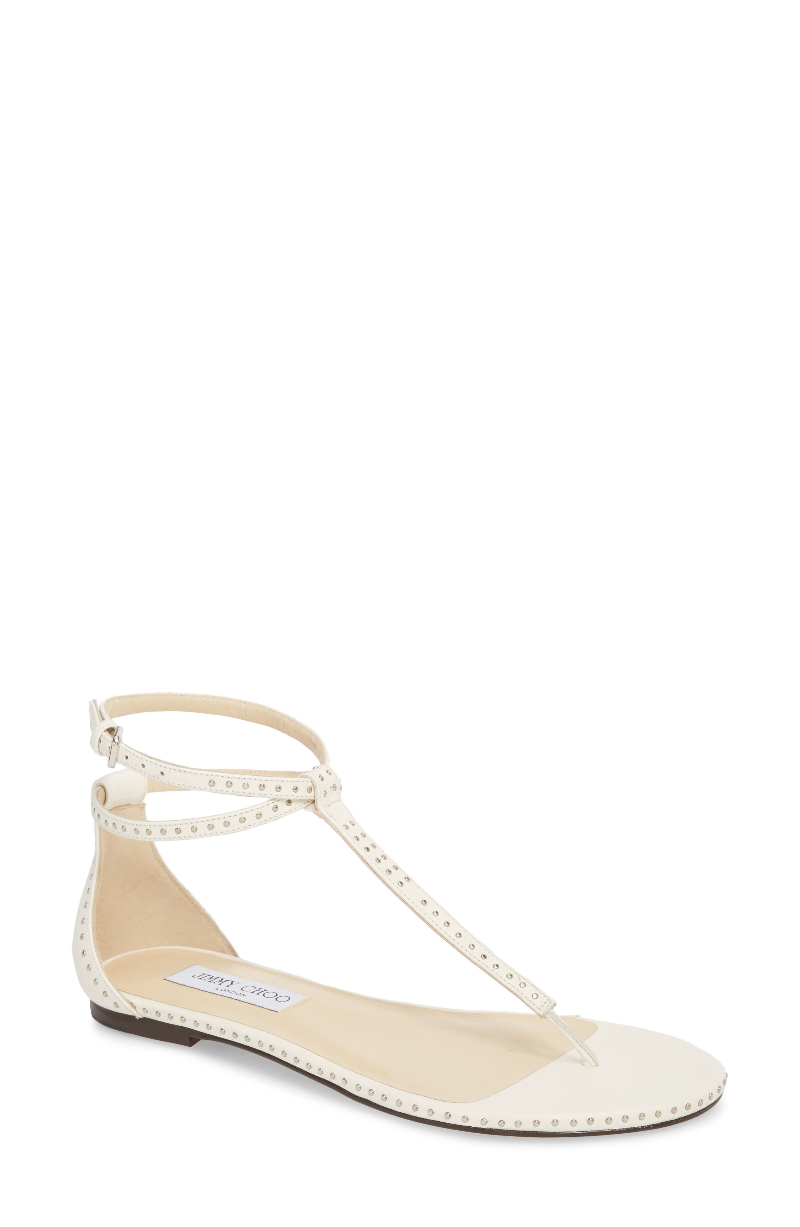 Afia Studded Flat Sandal,                         Main,                         color, Chalk