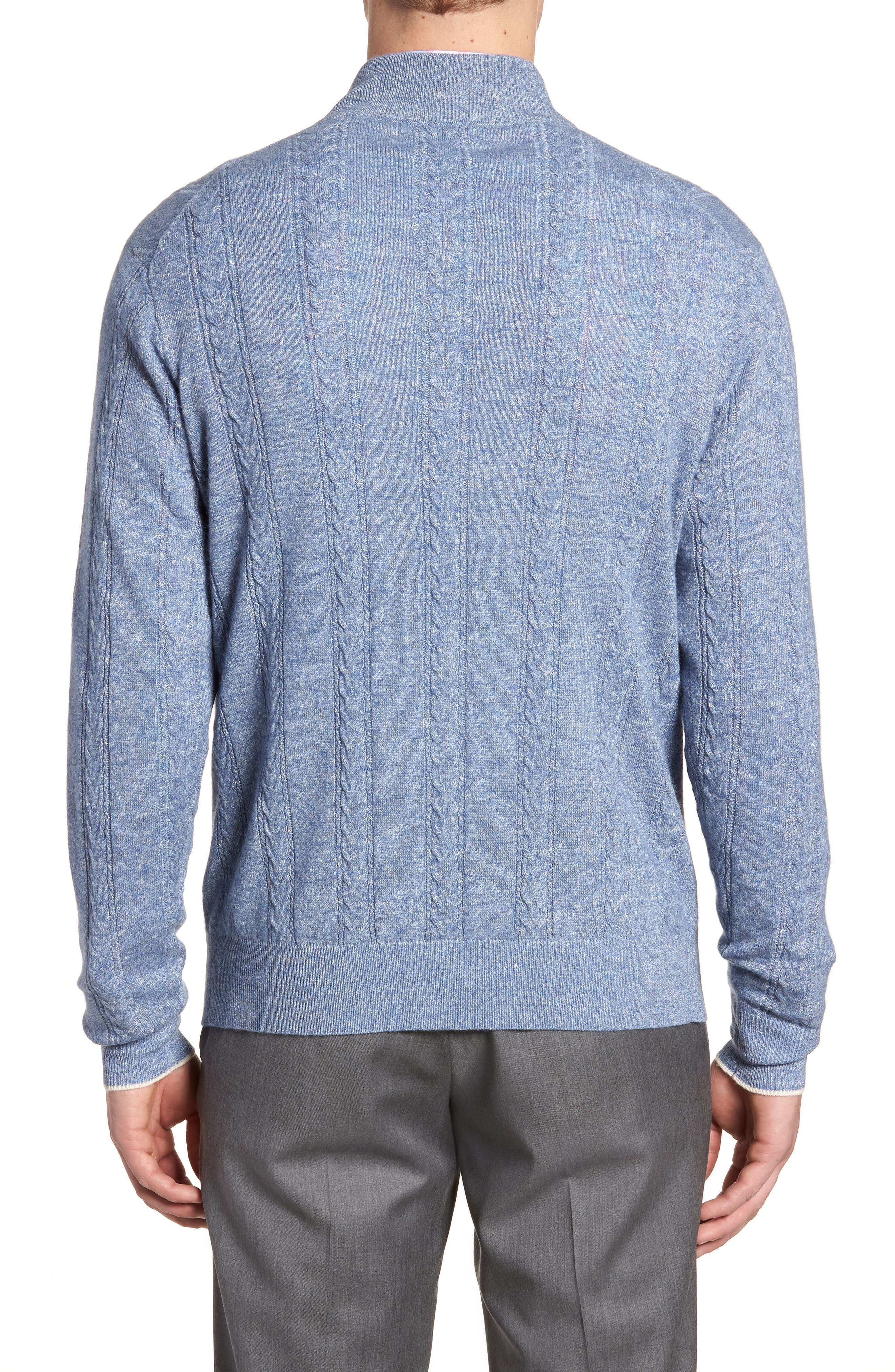 Crown Fleece Cashmere & Linen Quarter Zip Sweater,                             Alternate thumbnail 2, color,                             Atlas Blue