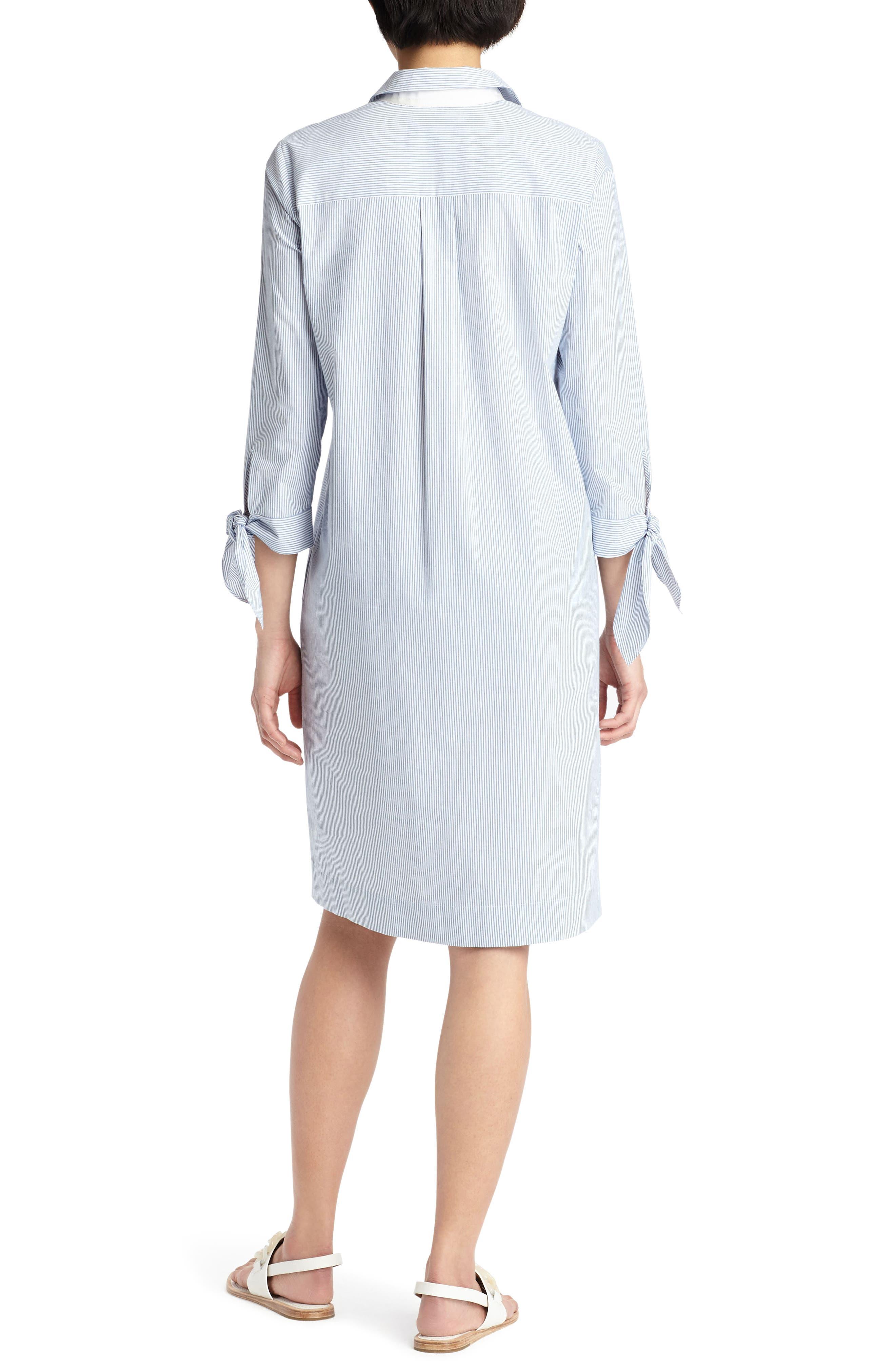 Talia Tie Cuff Shirtdress,                             Alternate thumbnail 2, color,                             Placid Blue Multi