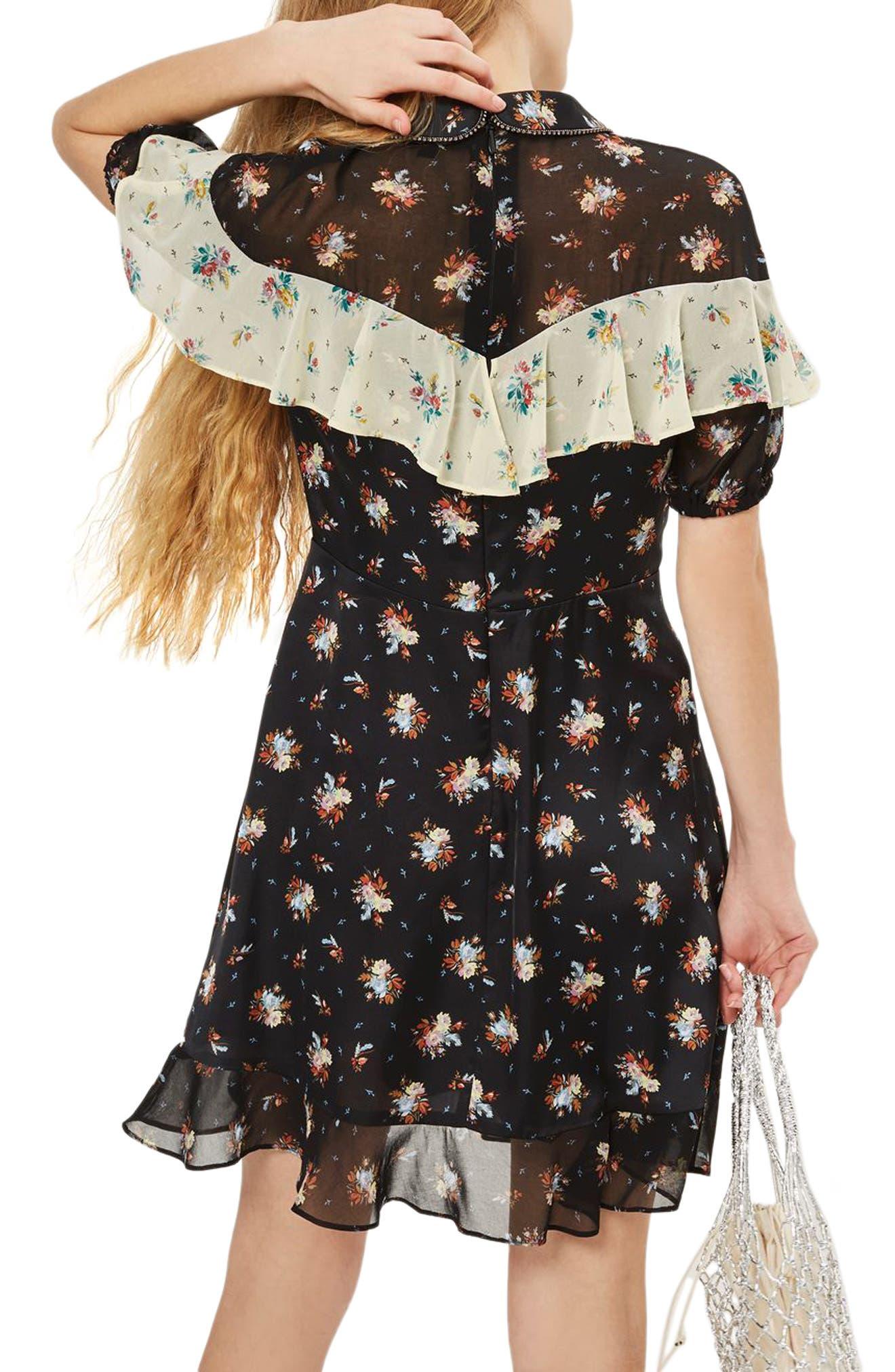 Rodeo Frill Western Skater Dress,                             Alternate thumbnail 2, color,                             Black Multi