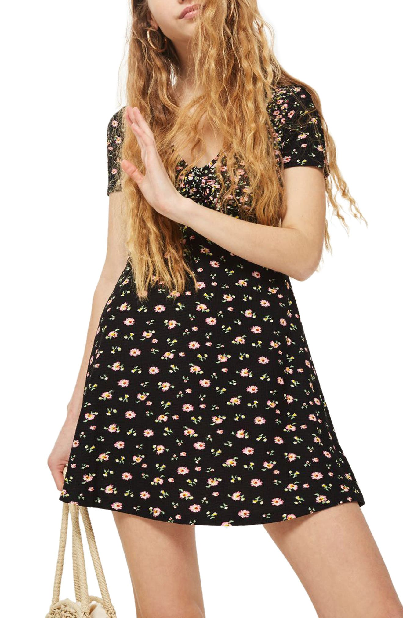 Mixed Floral Tea Dress,                             Alternate thumbnail 3, color,                             Black