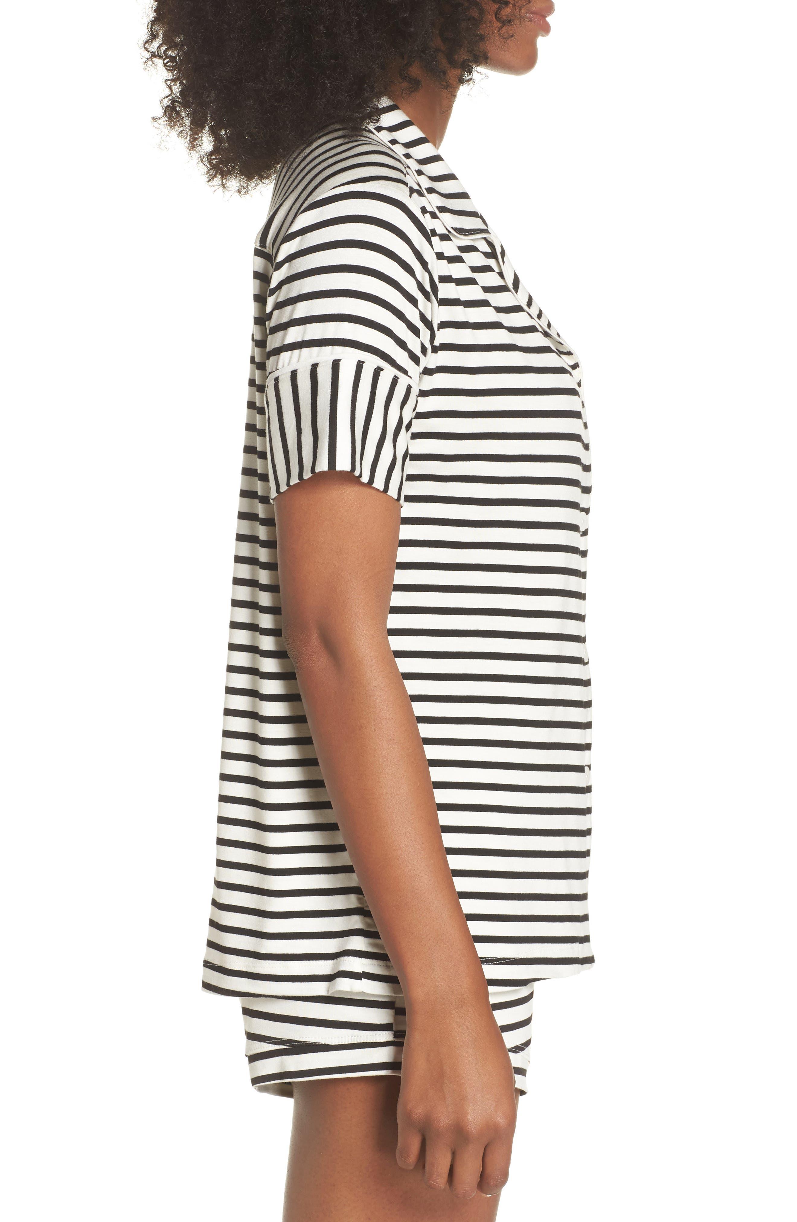 Monaco Short Pajamas,                             Alternate thumbnail 3, color,                             Pearl Stripe
