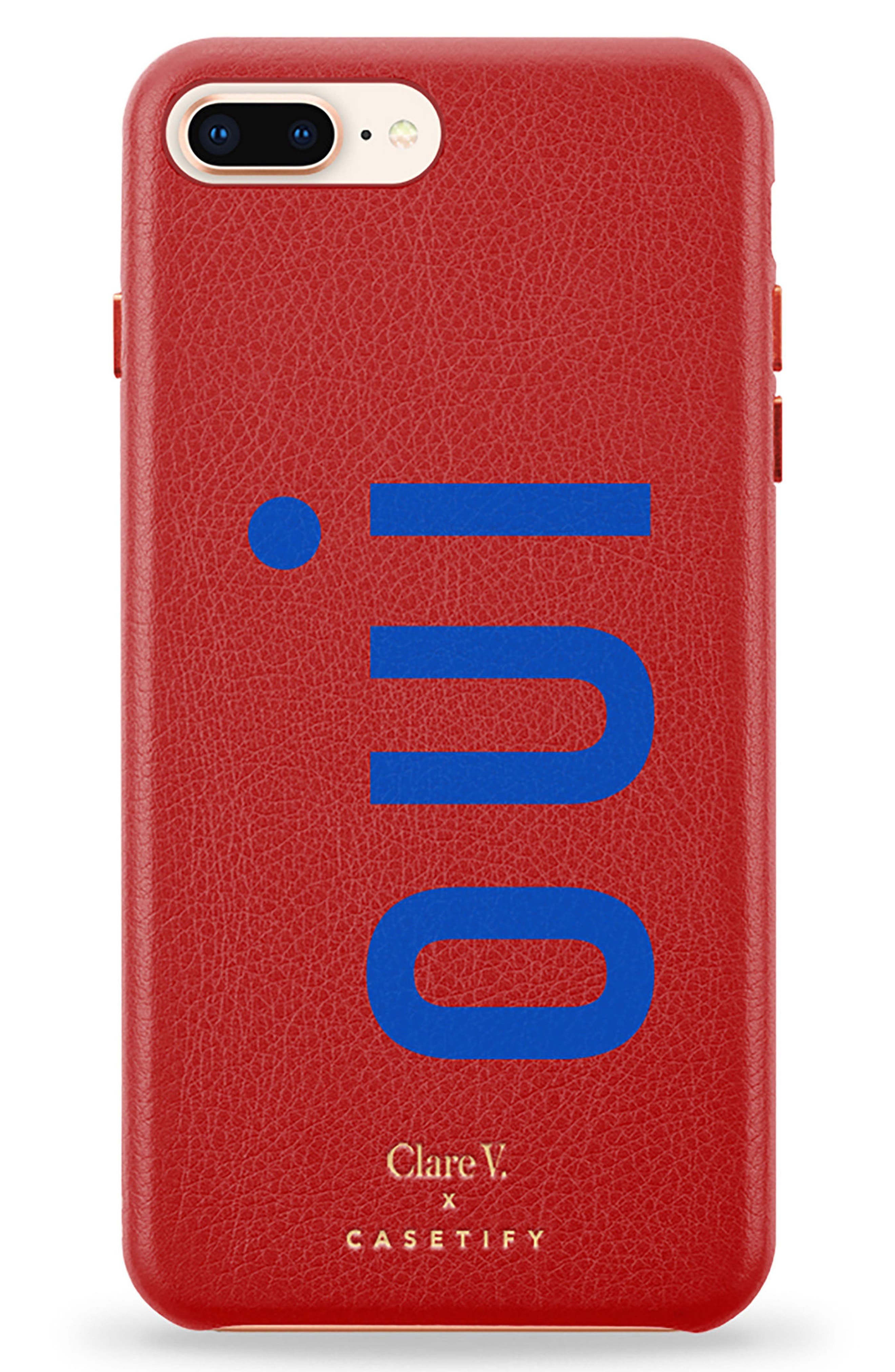 x Clare V. Oui Leather iPhone 7/8 & 7/8 Plus Case,                         Main,                         color, Red Multi