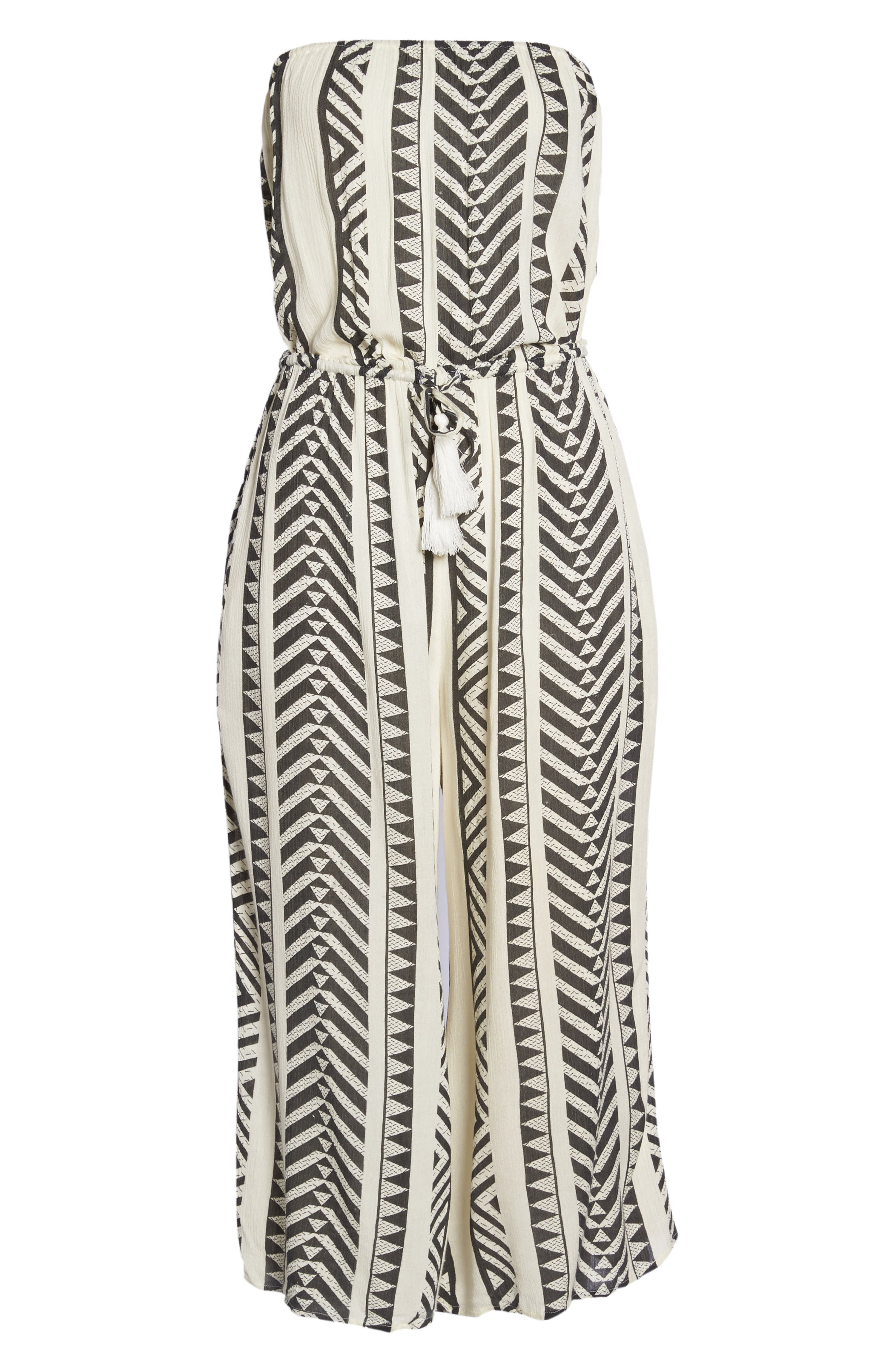 Strapless Cover-Up Jumpsuit,                             Alternate thumbnail 6, color,                             Black Tribal