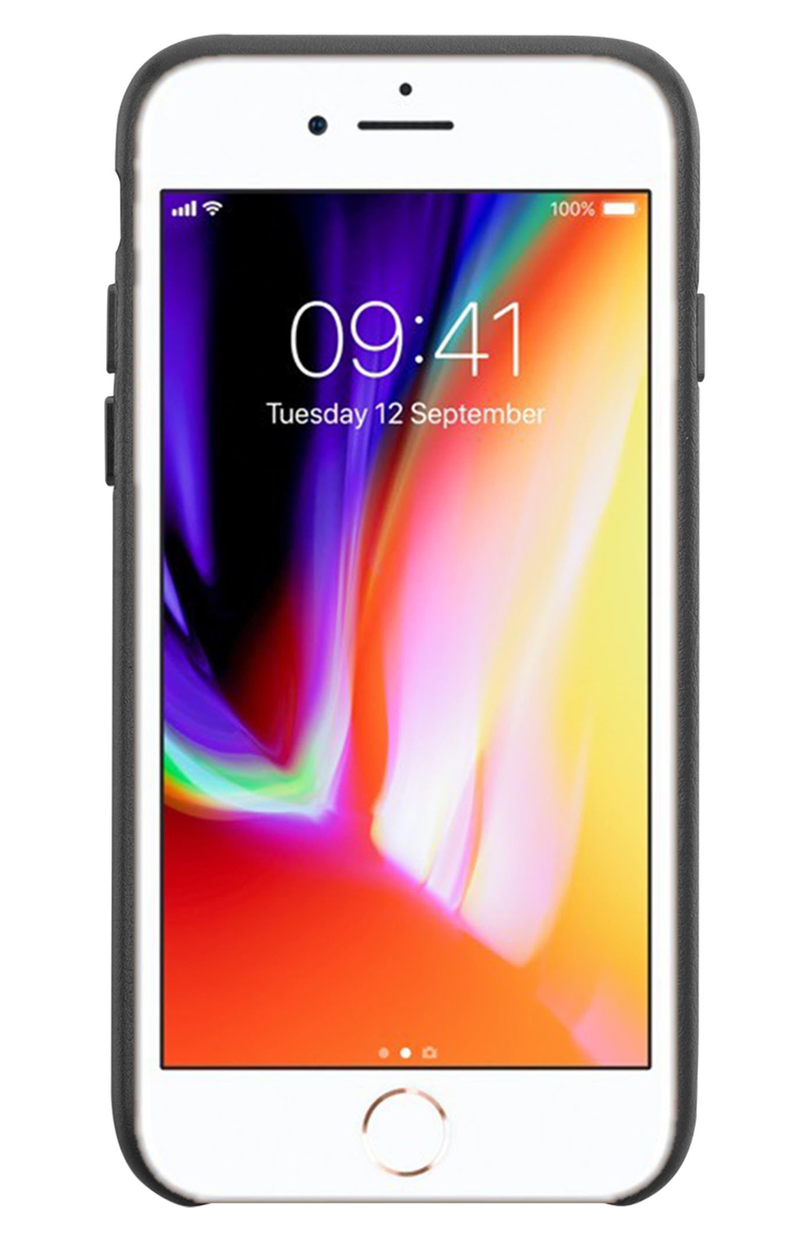 x Clare V. Stripe Leather iPhone 7/8 & 7/8 Plus Case,                             Alternate thumbnail 4, color,                             Black Multi