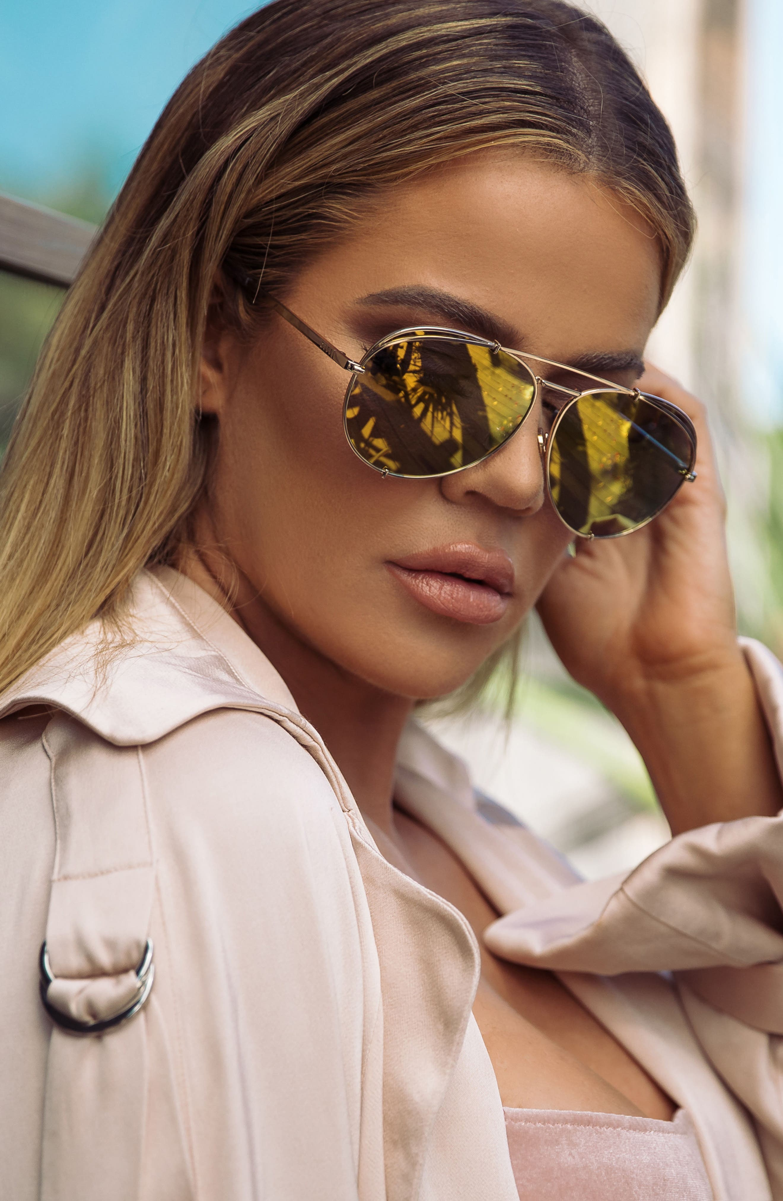 x Khloé Koko 63mm Oversize Aviator Sunglasses,                             Alternate thumbnail 7, color,