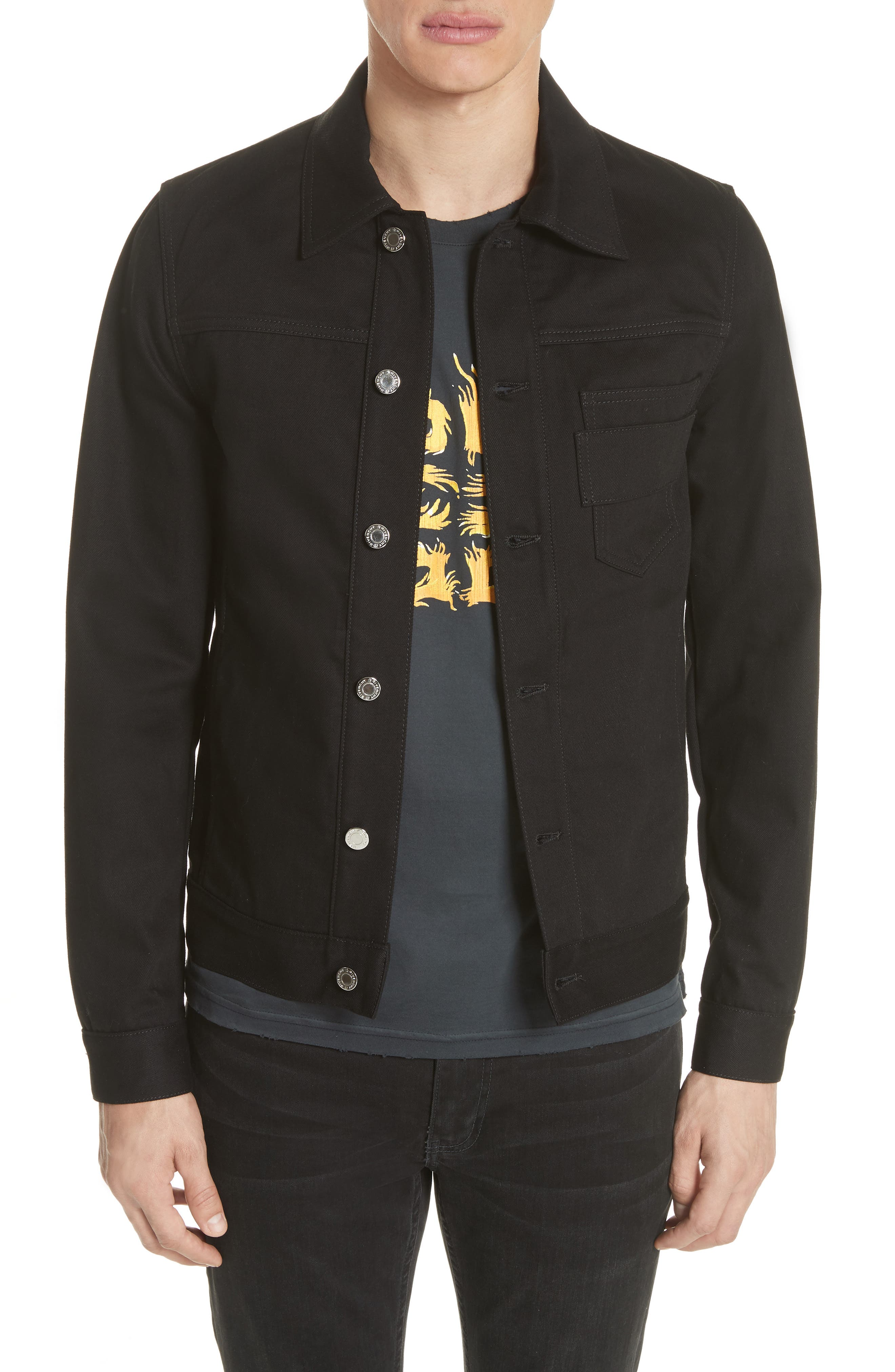 Denim Jacket with Logo Embroidery,                             Main thumbnail 1, color,                             Black