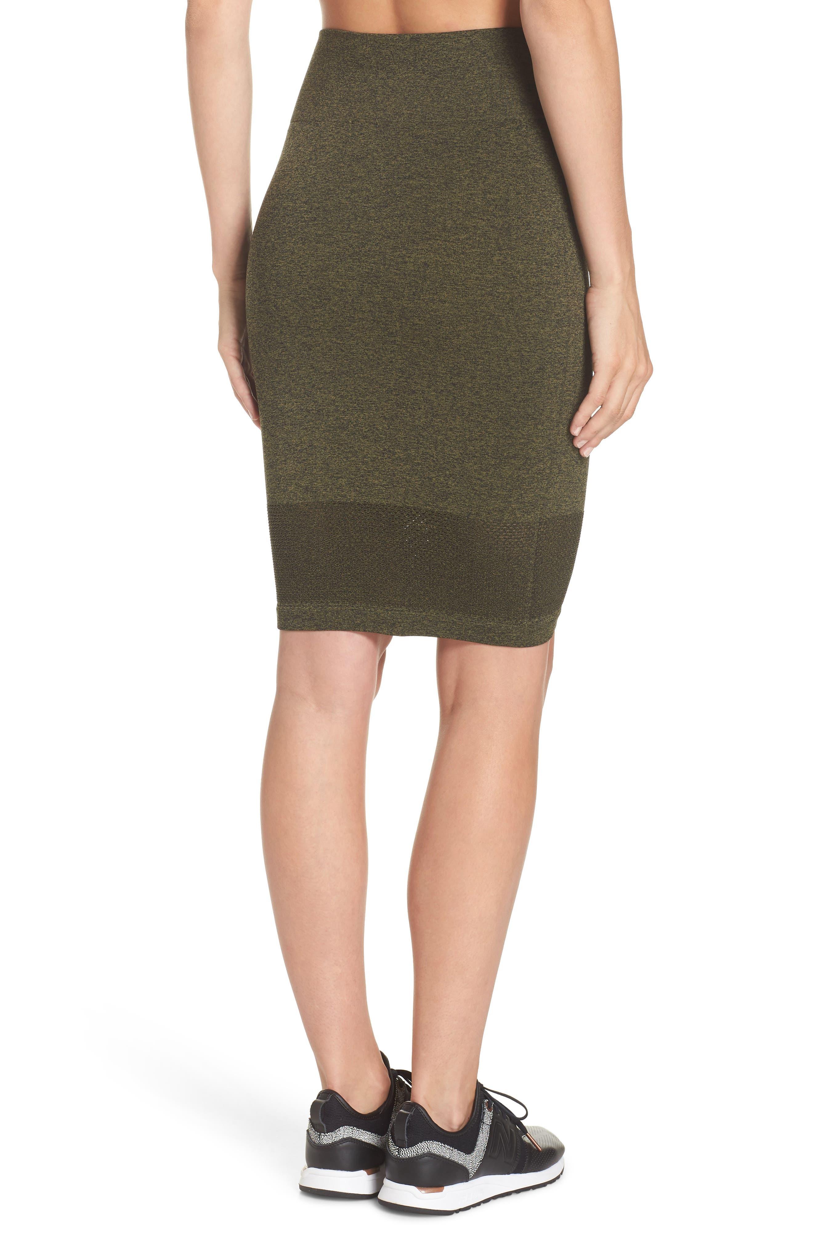 Aura Seamless Skirt,                             Alternate thumbnail 2, color,                             Deep Lichen Green/ Black