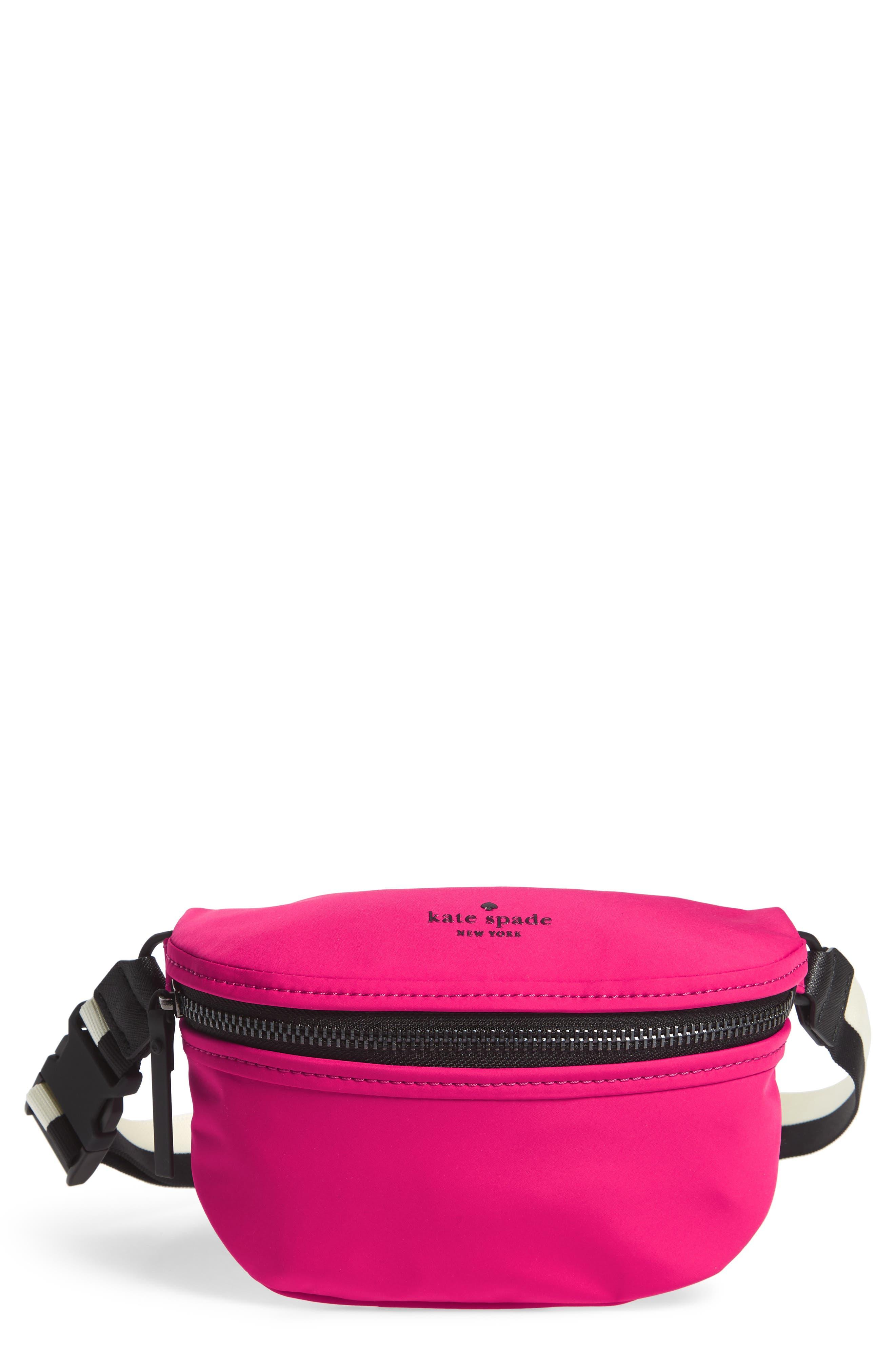 that's the spirit mini nylon fanny pack,                         Main,                         color, Kinetic Pink