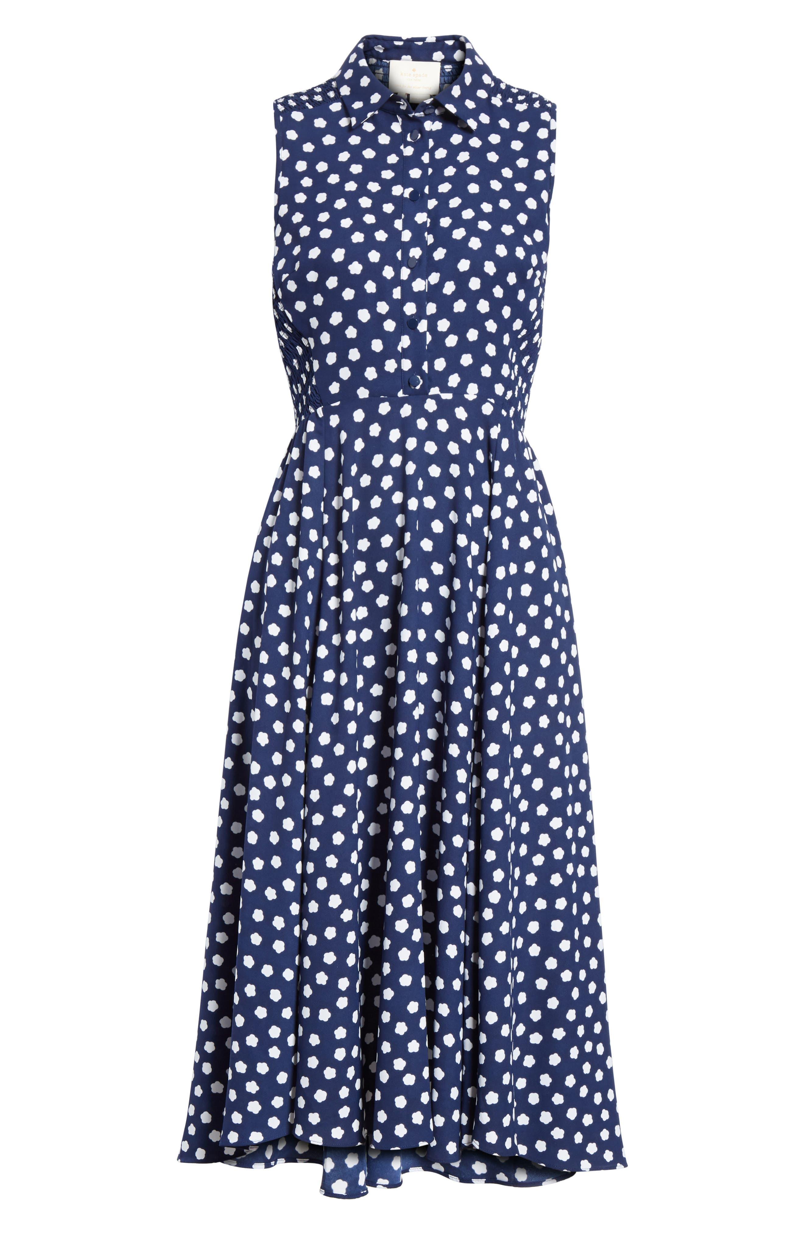 cloud dot midi dress,                             Alternate thumbnail 6, color,                             French Navy/ Fresh White