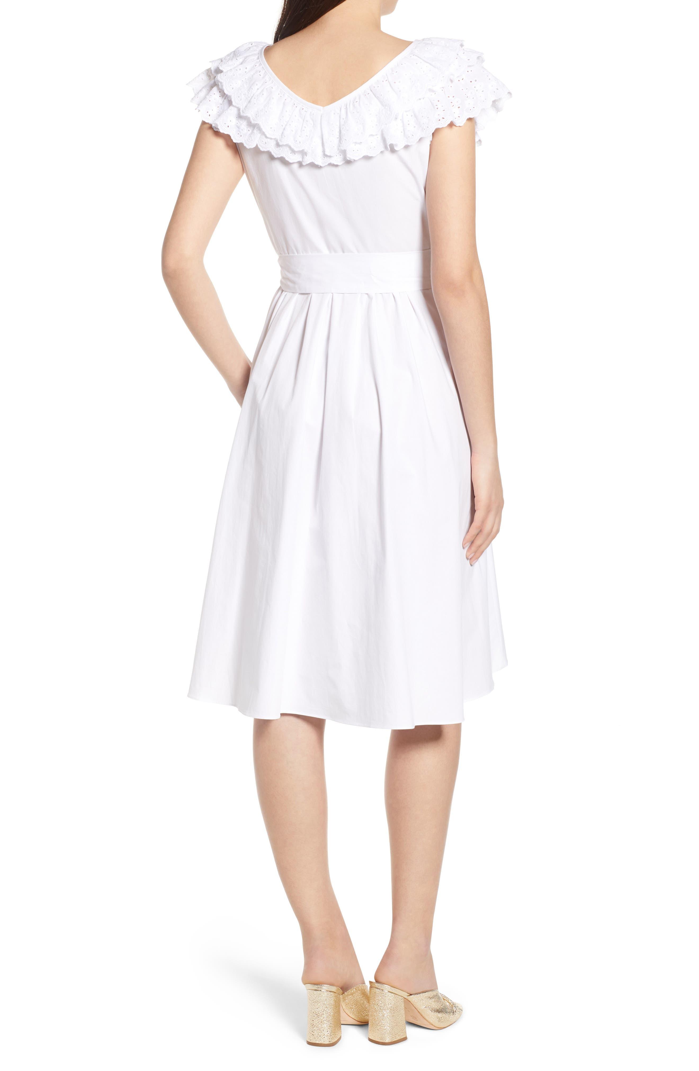 Ruffle Eyelet Dress,                             Alternate thumbnail 2, color,                             White