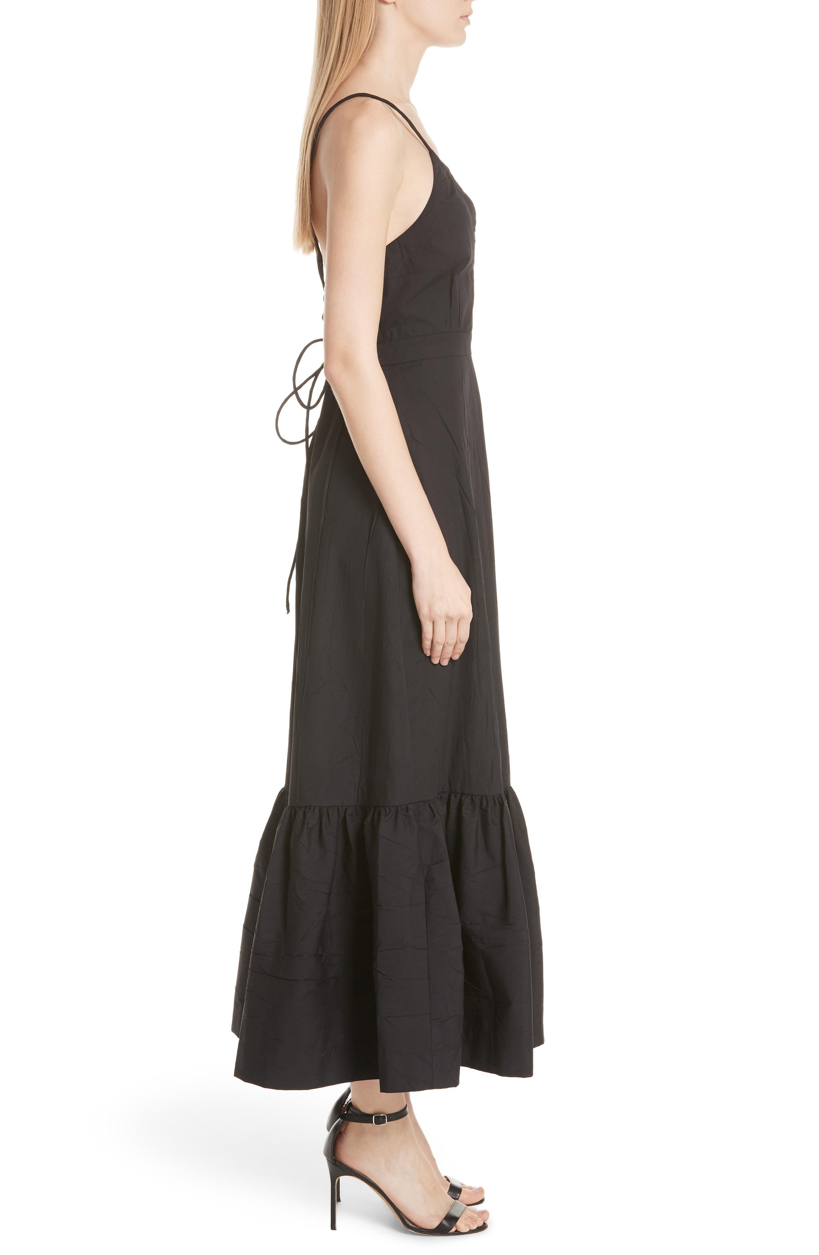 Tiered Halter Keyhole Dress,                             Alternate thumbnail 3, color,                             Black