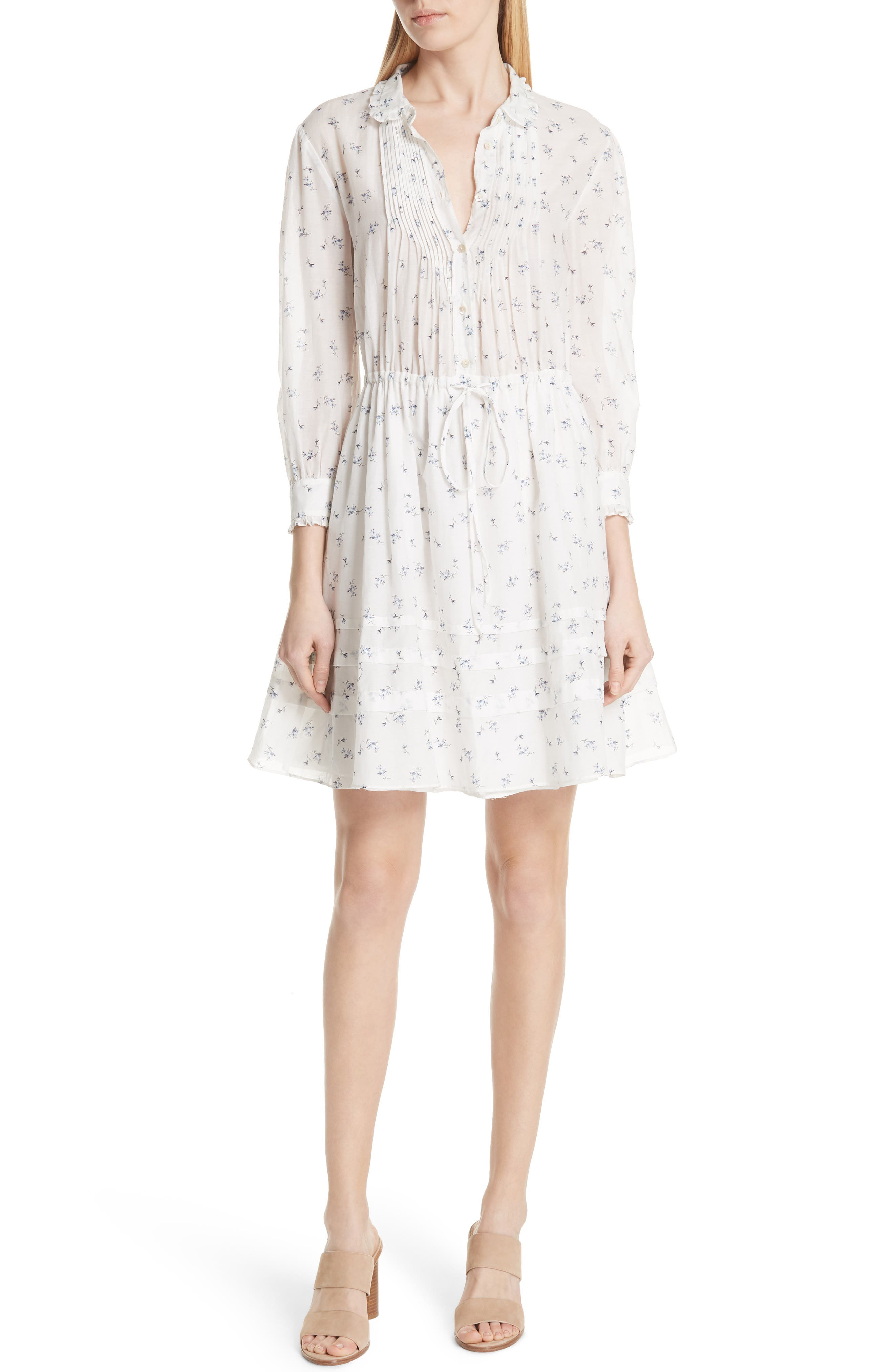 Floral Sprig Shirtdress,                             Main thumbnail 1, color,                             Snow Combo