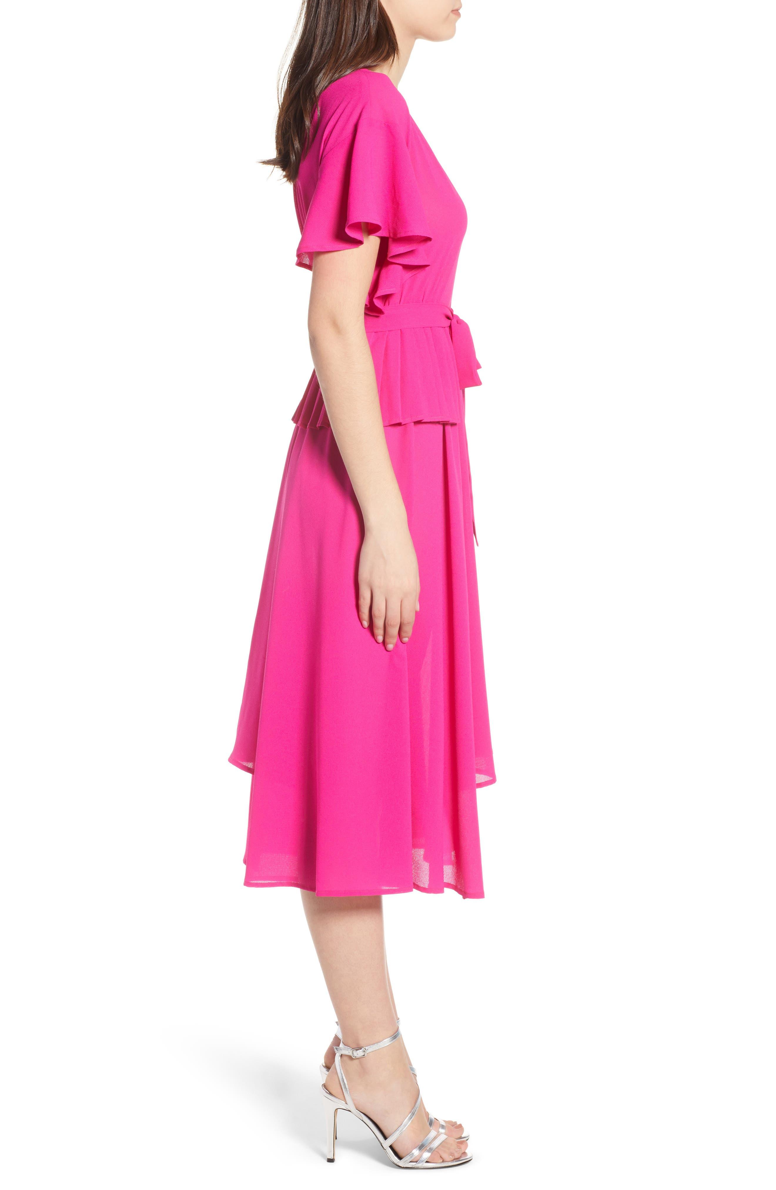 Chiffon Midi Dress,                             Alternate thumbnail 4, color,                             Fuchsia