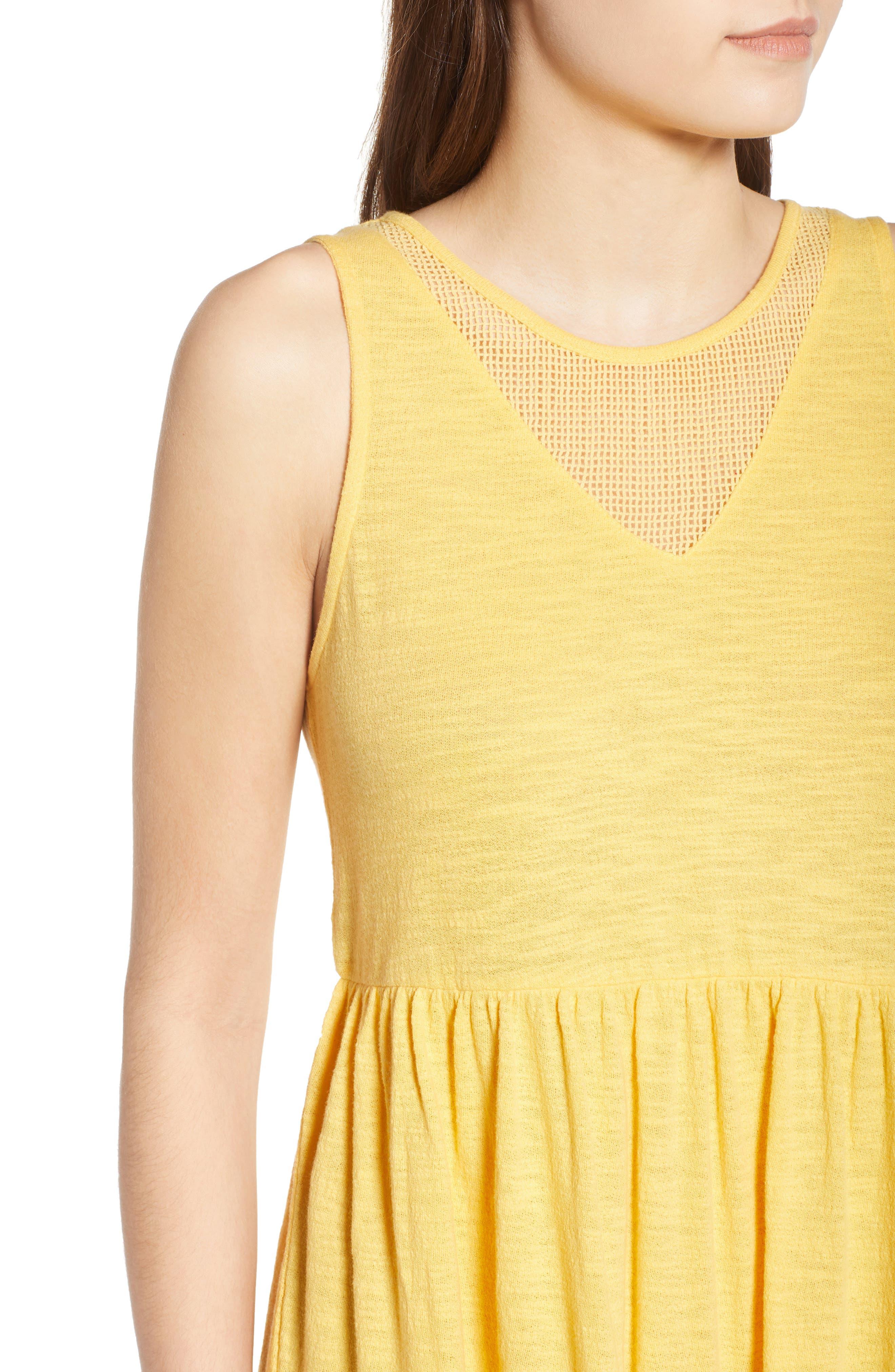 Tucson Cotton Dress,                             Alternate thumbnail 4, color,                             Buff Yellow