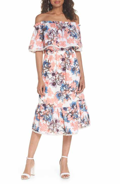 Fraiche by J Off the Shoulder Tiered Midi Dress by FRAICHE BY J
