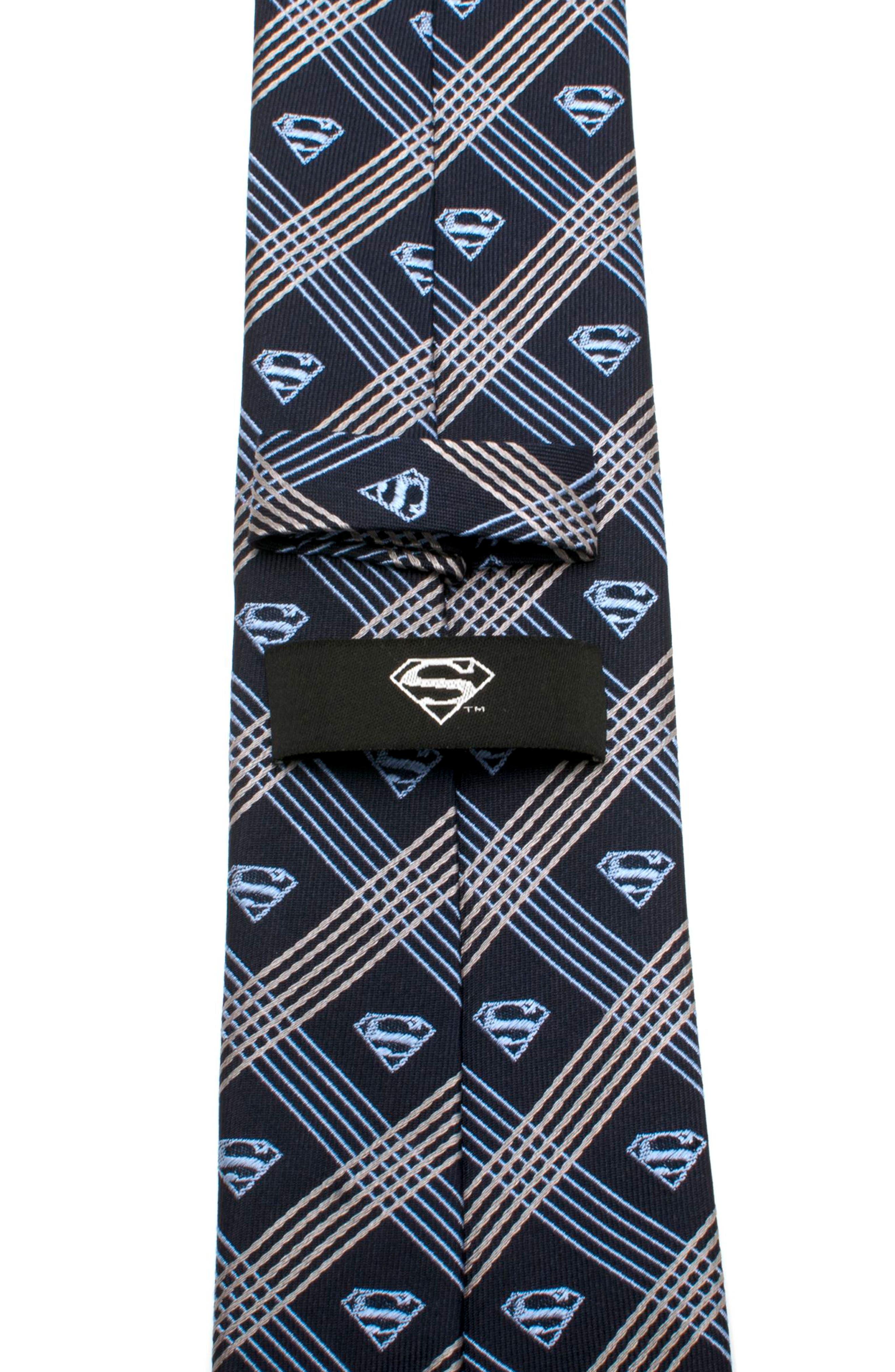 Superman Shield Silk Tie,                             Alternate thumbnail 5, color,                             Grey/ Navy