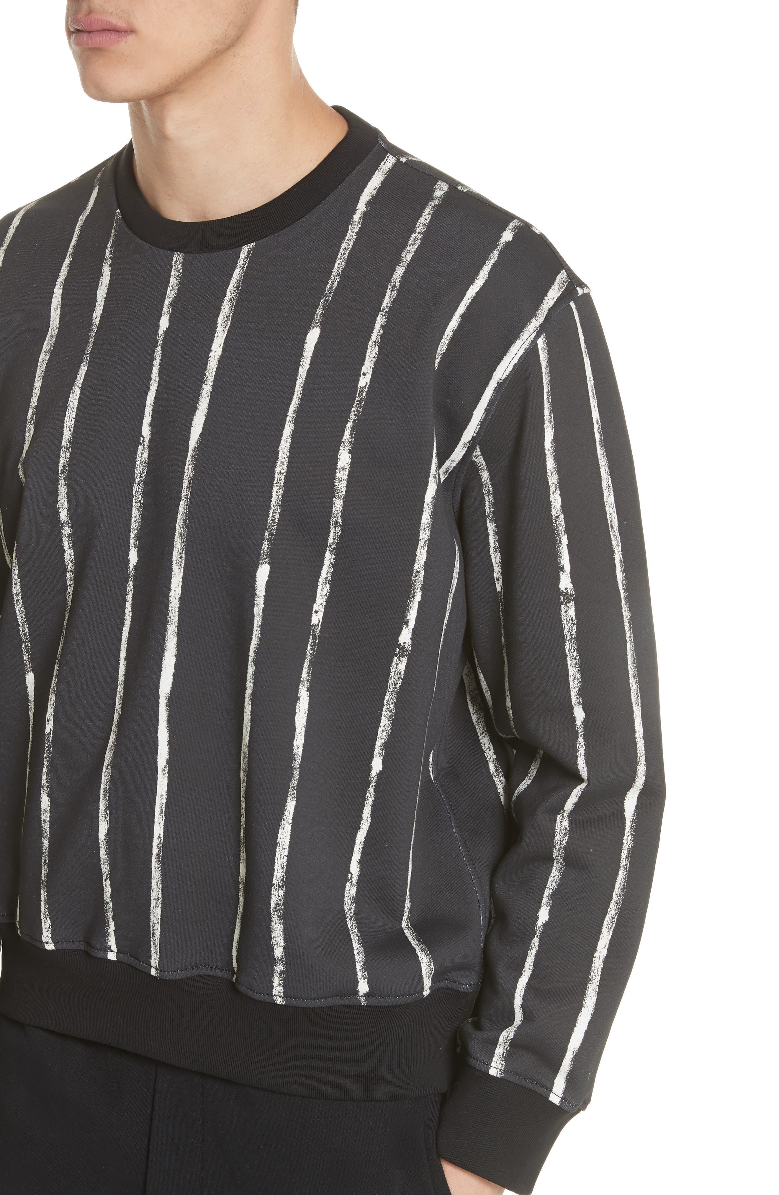 Paint Stripe Crewneck Sweatshirt,                             Alternate thumbnail 4, color,                             Black/ White
