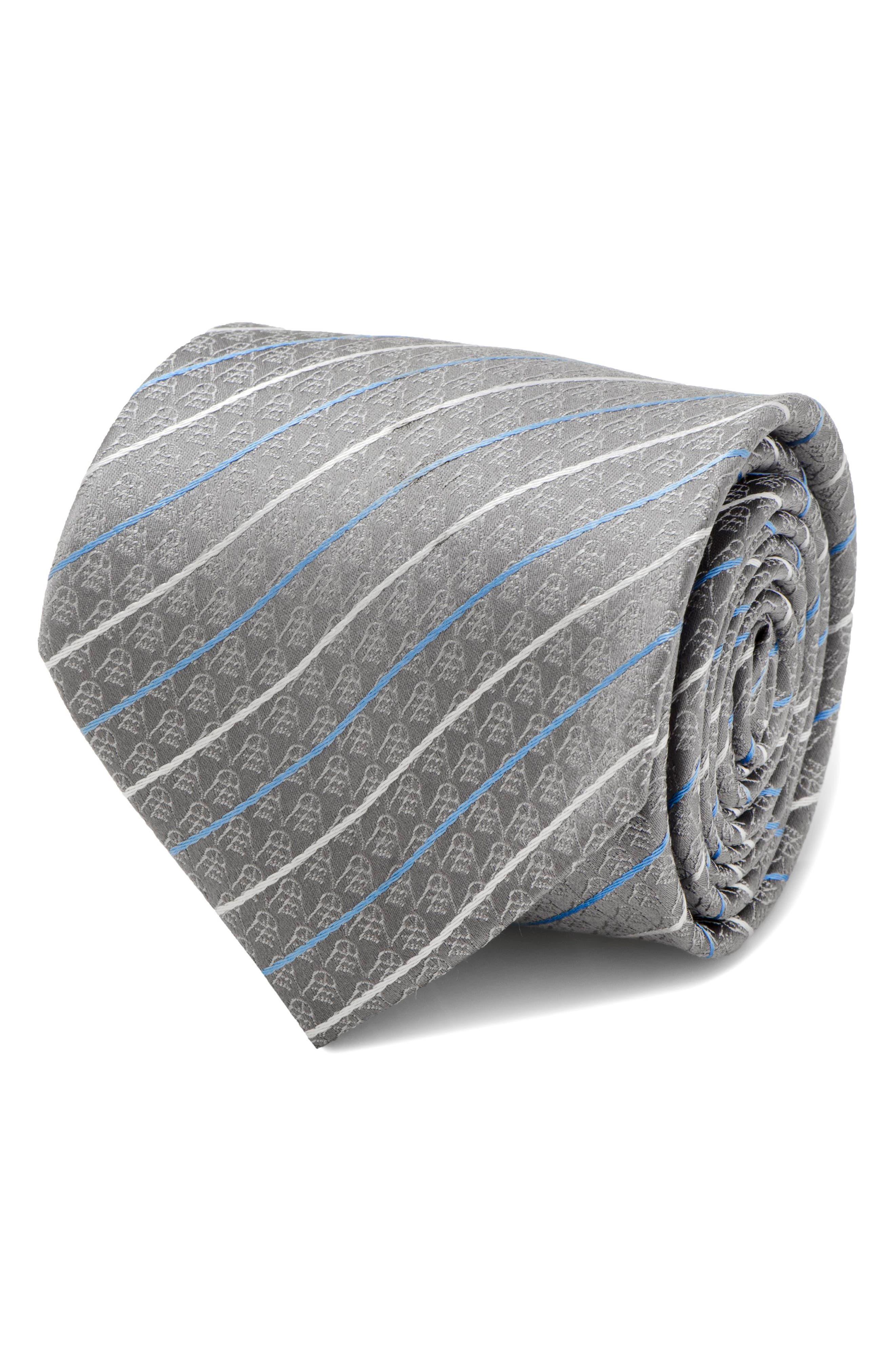 Darth Vader Stripe Silk Tie,                             Alternate thumbnail 4, color,                             Grey