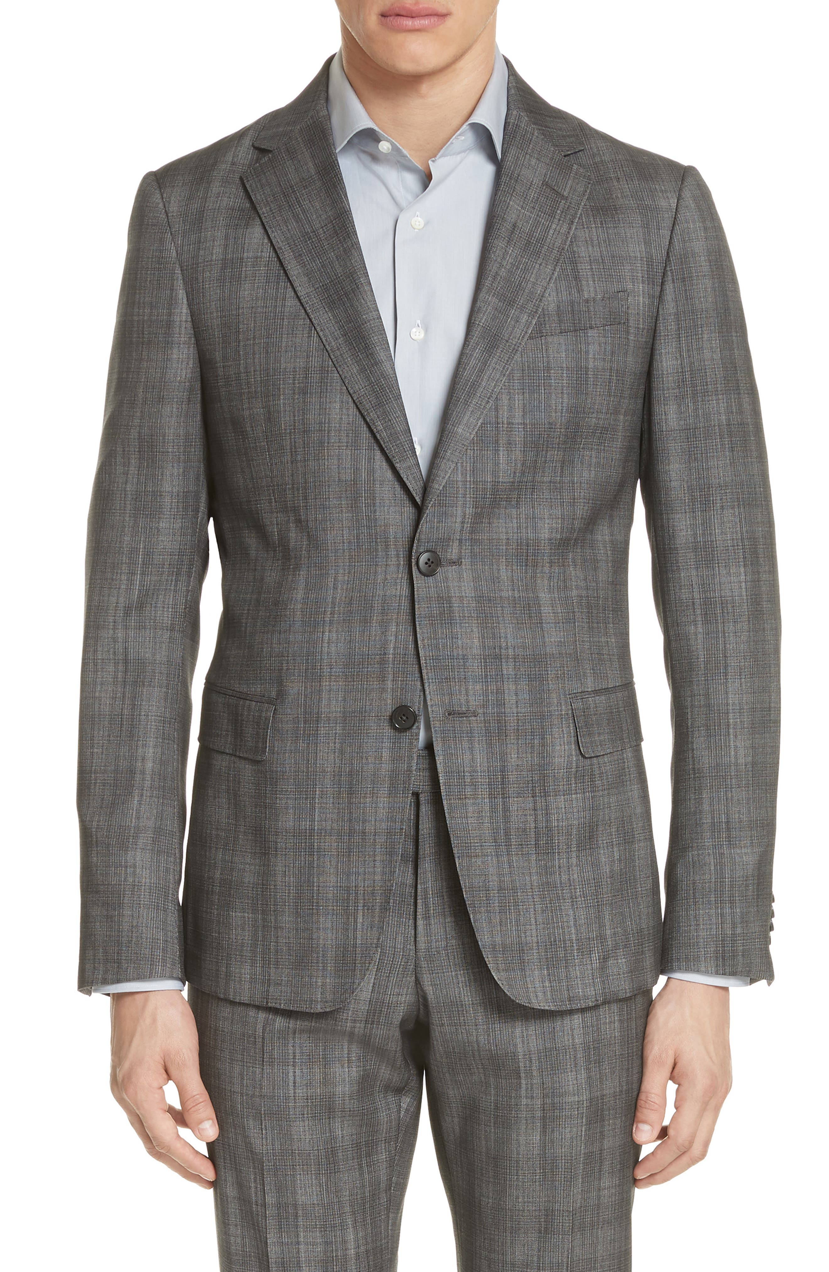 Classic Fit Plaid Wool & Silk Suit,                             Alternate thumbnail 5, color,                             Dark Grey Check