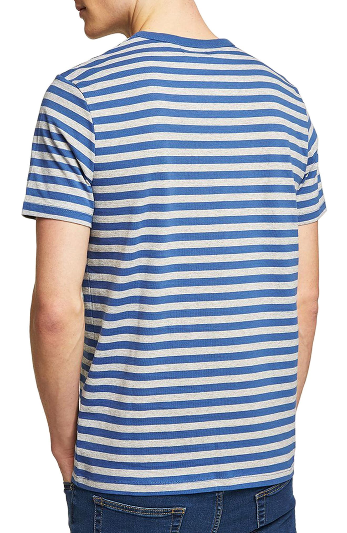Slim Fit Stripe T-Shirt,                             Alternate thumbnail 2, color,                             Mid Blue Multi