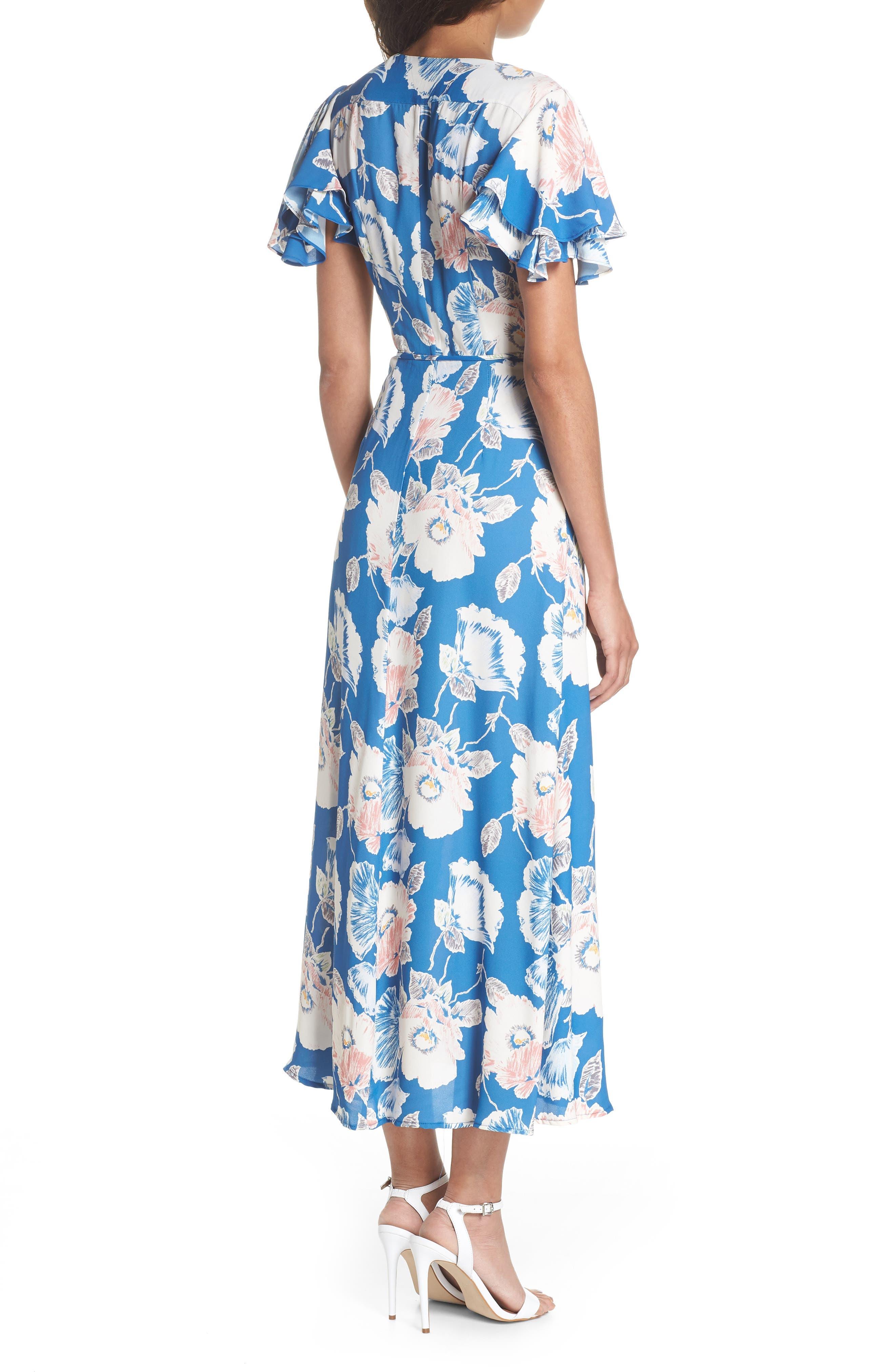 Cari Faux Wrap Crepe Dress,                             Alternate thumbnail 2, color,                             Vintage Blue