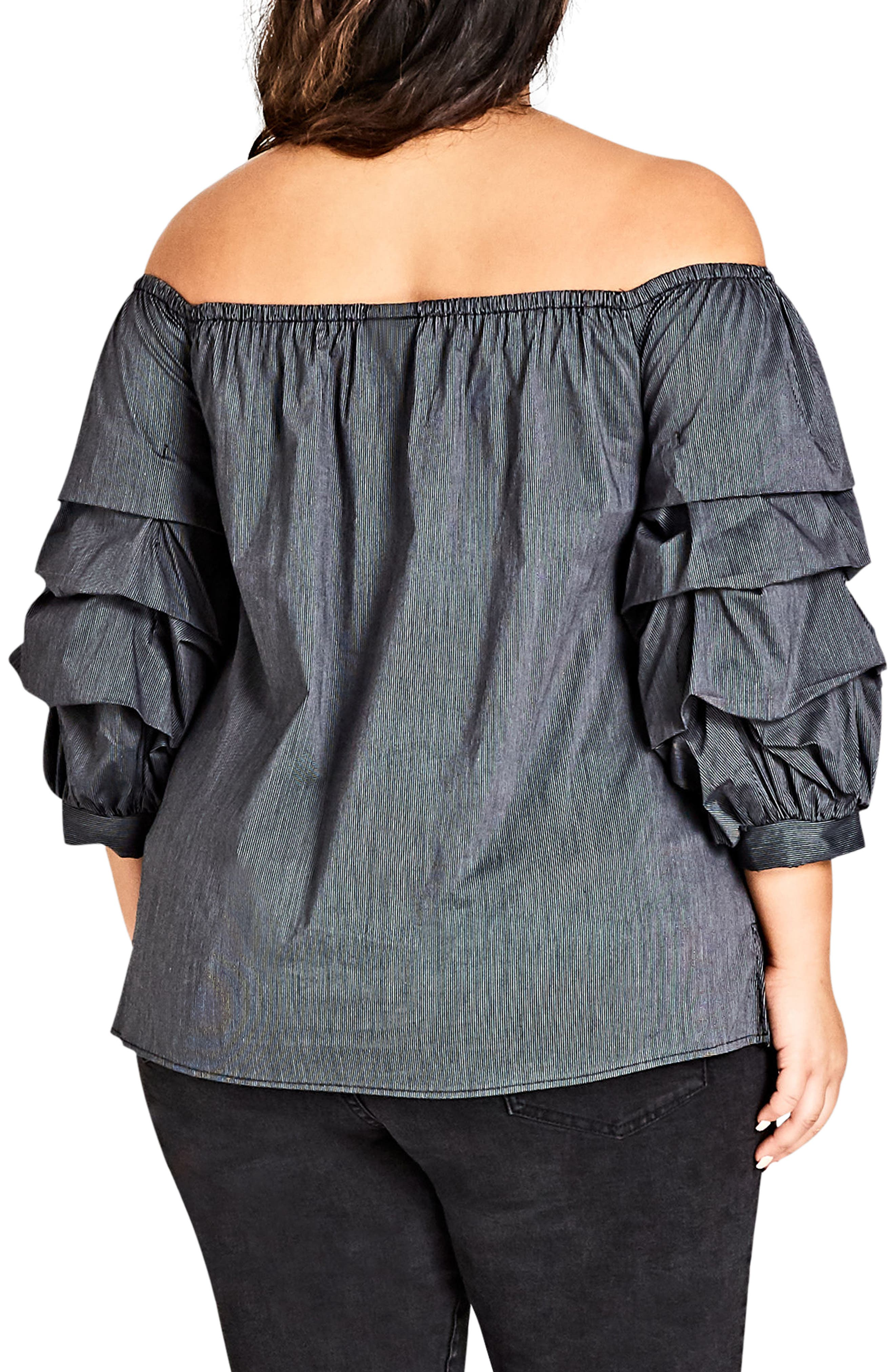 Fancy Sleeve Off the Shoulder Cotton Blend Top,                             Alternate thumbnail 2, color,                             Black Stripe